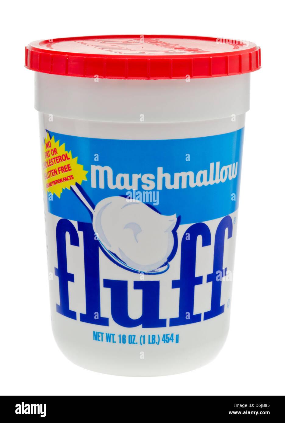 Tub of Marshmallow Fluff. - Stock Image