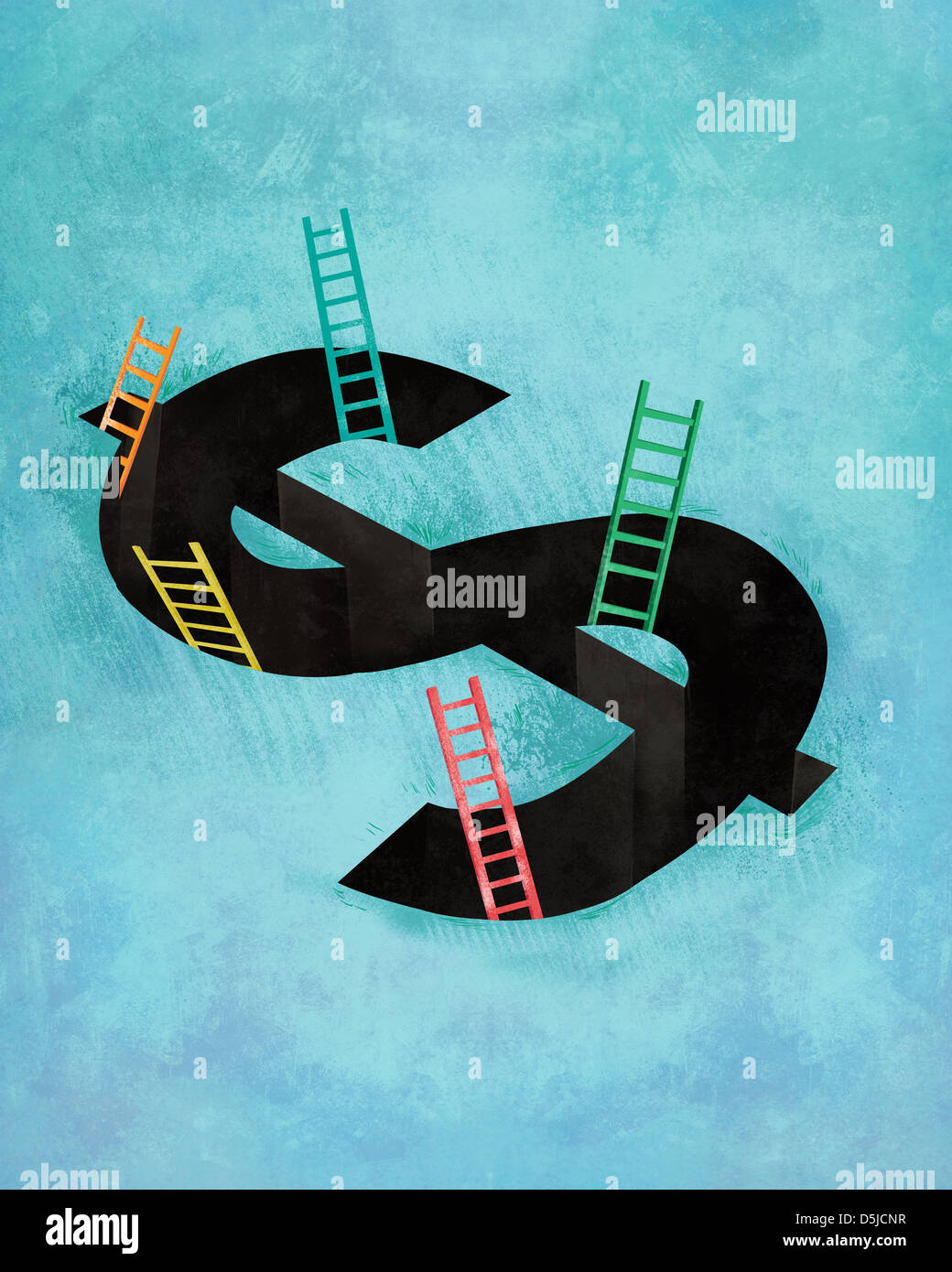 Illustrative image of dollar sign with ladders representing coming out from debt Stock Photo
