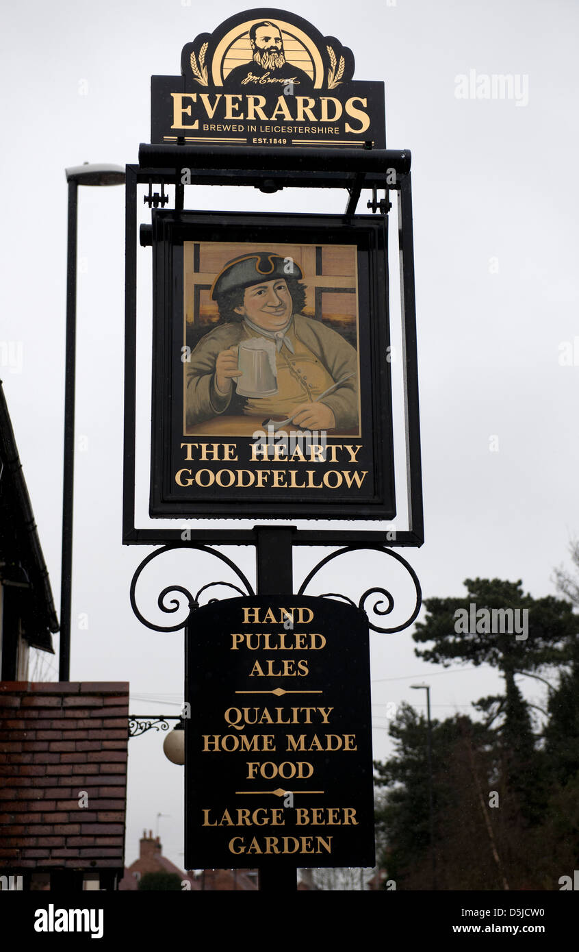 Pub sign 'The Hearty Goodfellow' Southwell, Nottinghamshire - Stock Image