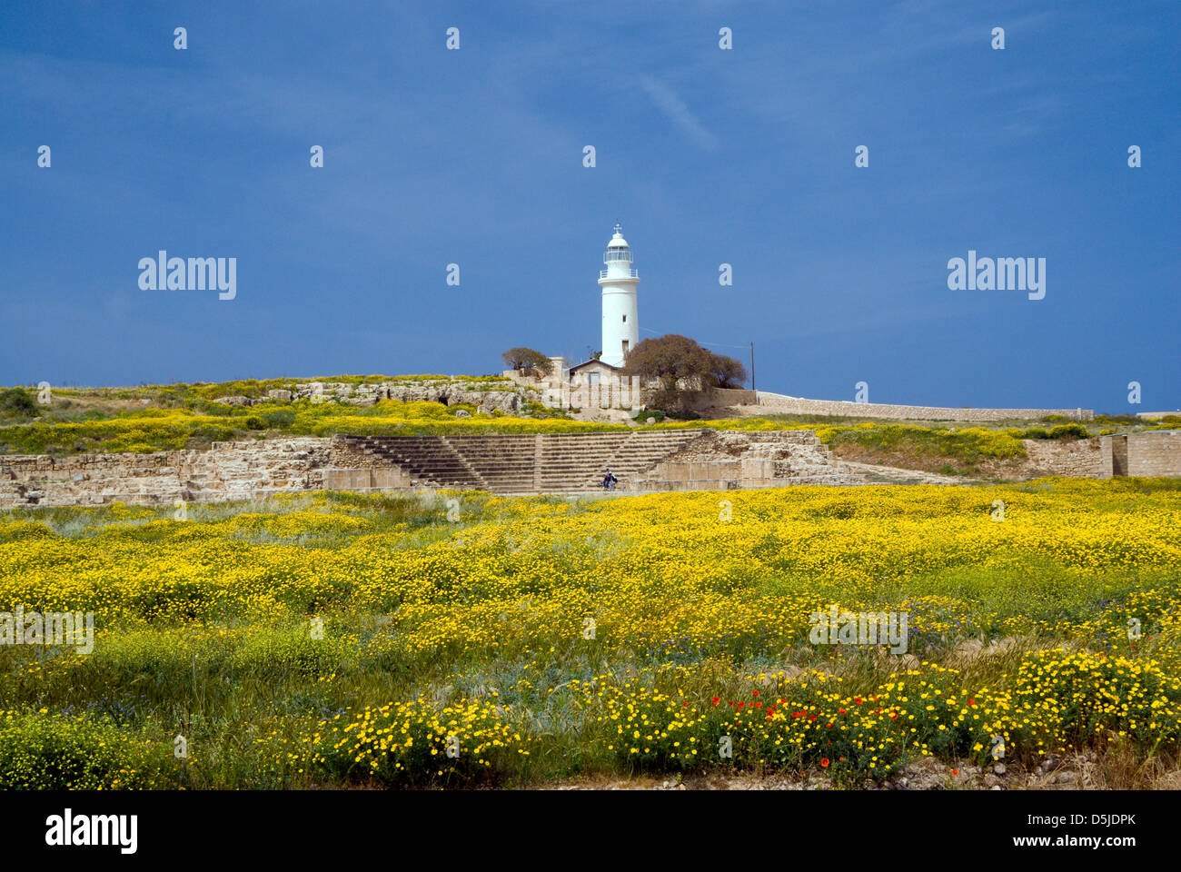 lighthouse and ancient odeon archaeological park paphos cyprus Stock Photo