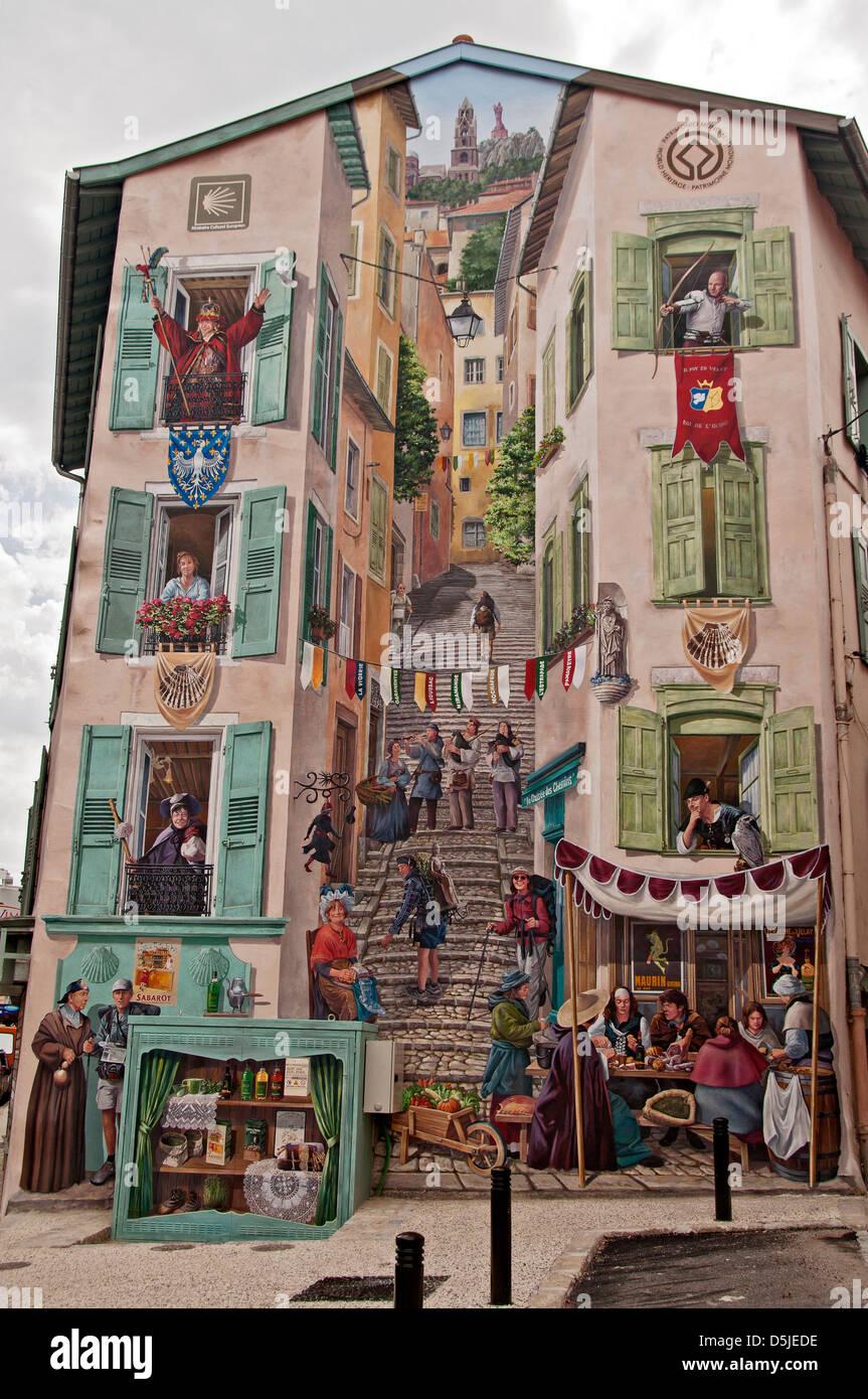Mural near Le Pouzarot, Le Puy en Velay - Stock Image