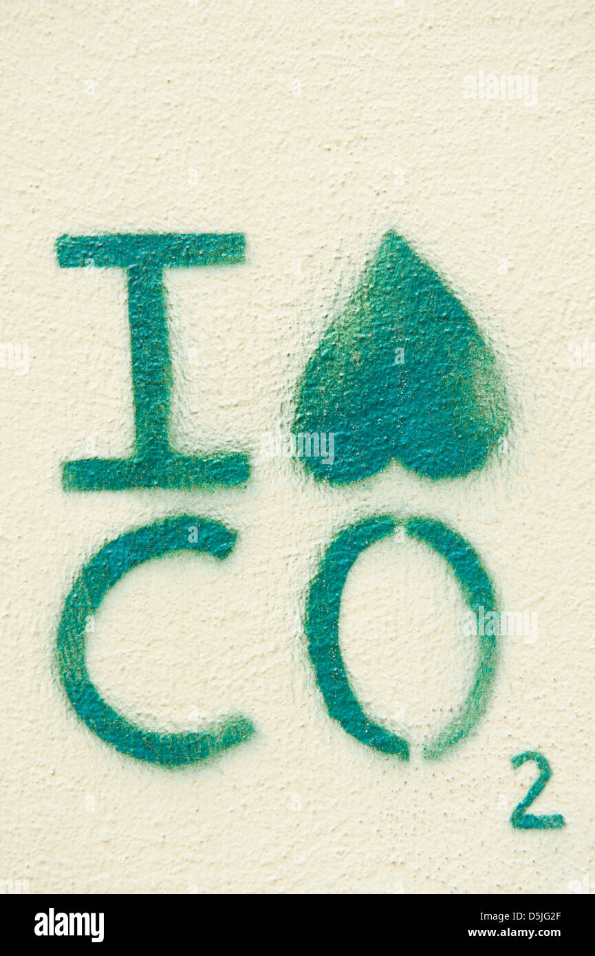 Graffiti on a wall expressing dislike or hatred of CO2 ('I hate CO2'); a green or environmental statement - Stock Image