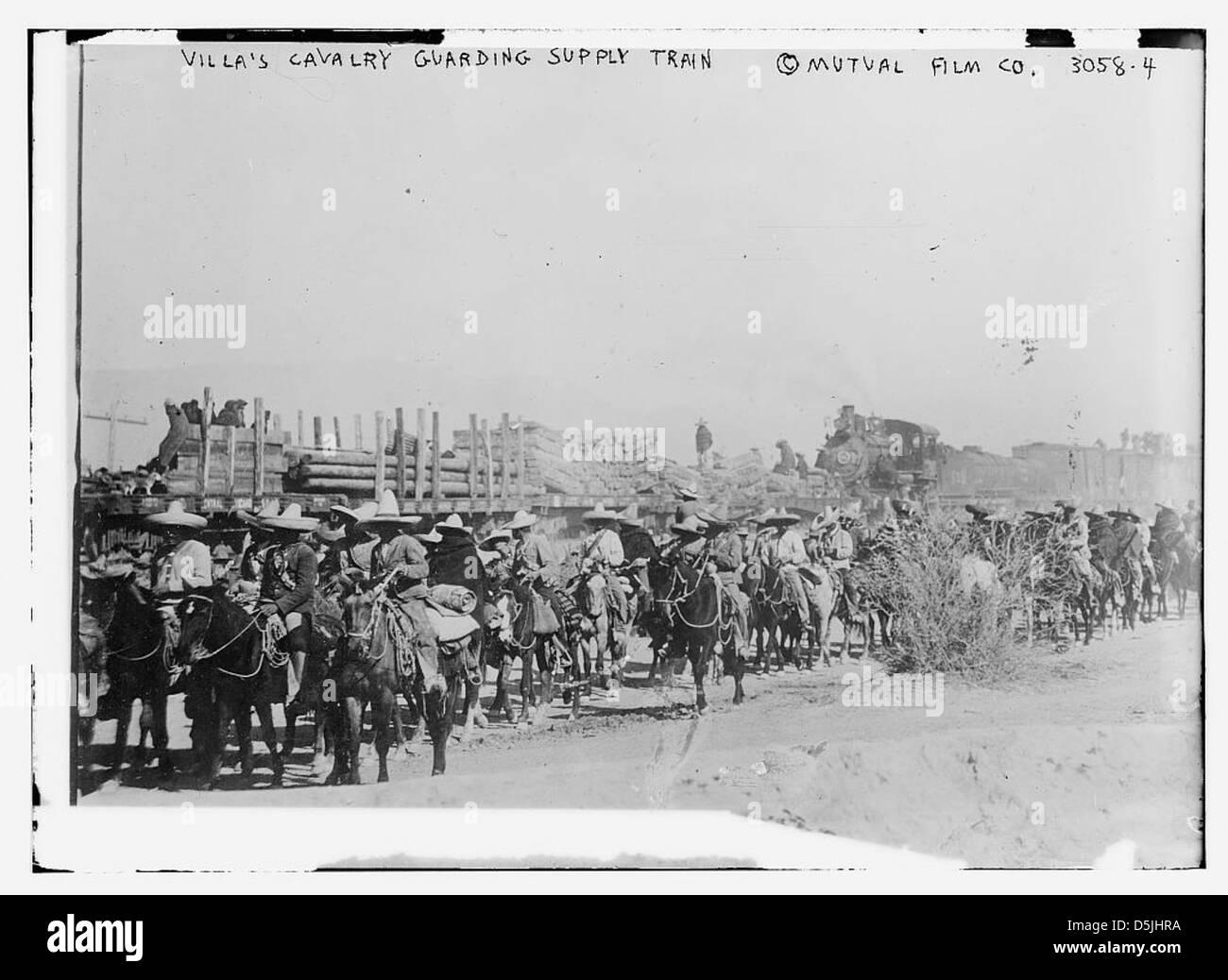 Villa's cavalry guarding supply train (LOC) - Stock Image