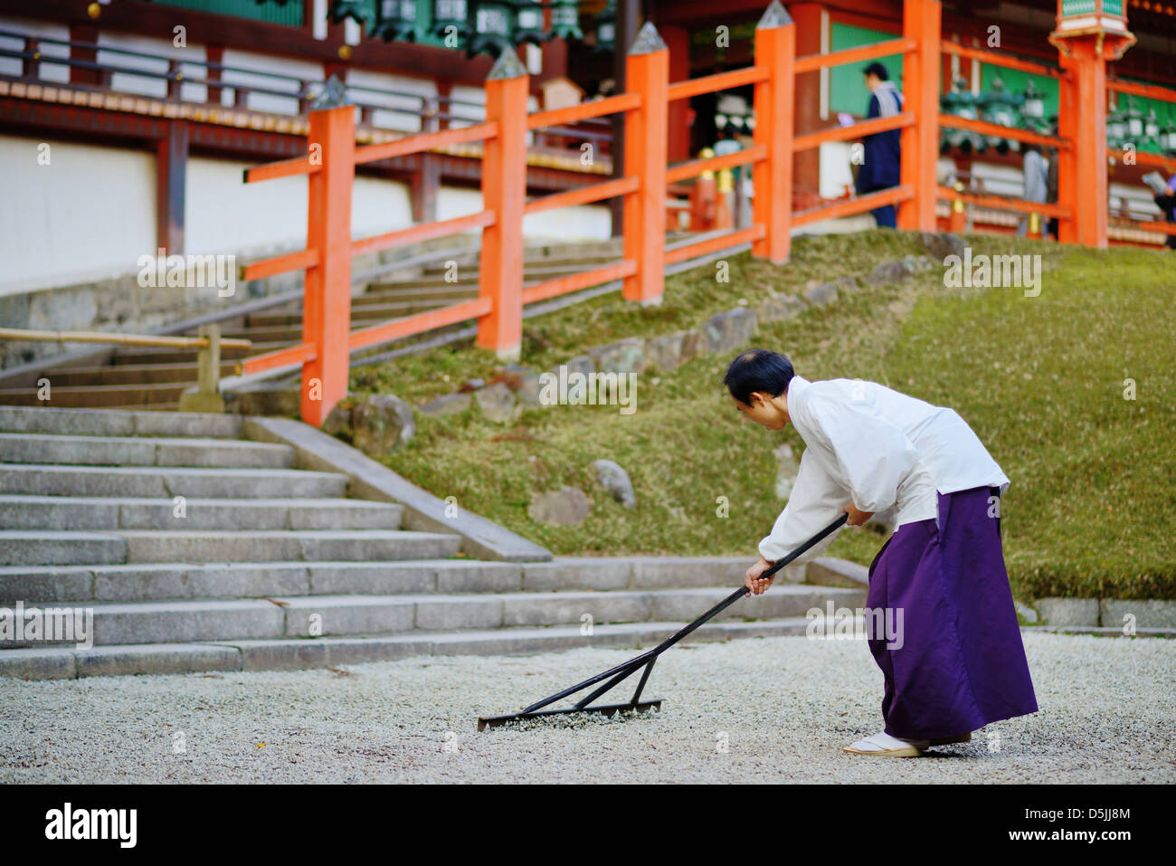A priest in Nara, Japan. - Stock Image