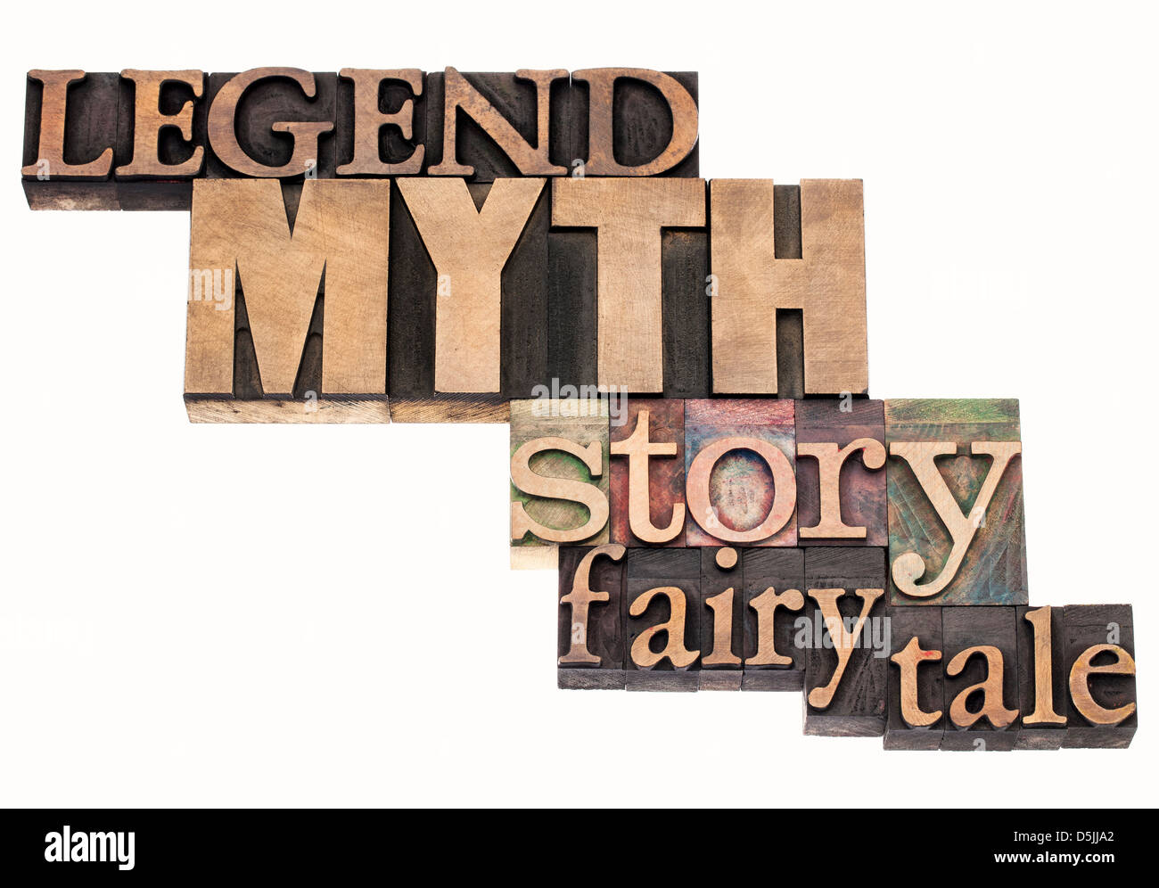 legend, myth, story, fairy tale - isolated word abstract in vintage letterpress wood type printing blocks - Stock Image