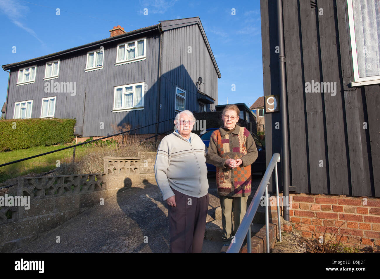Norway Cresent where after the Great Flood of 1953 the Norwegian government donated wooden homes to house families - Stock Image