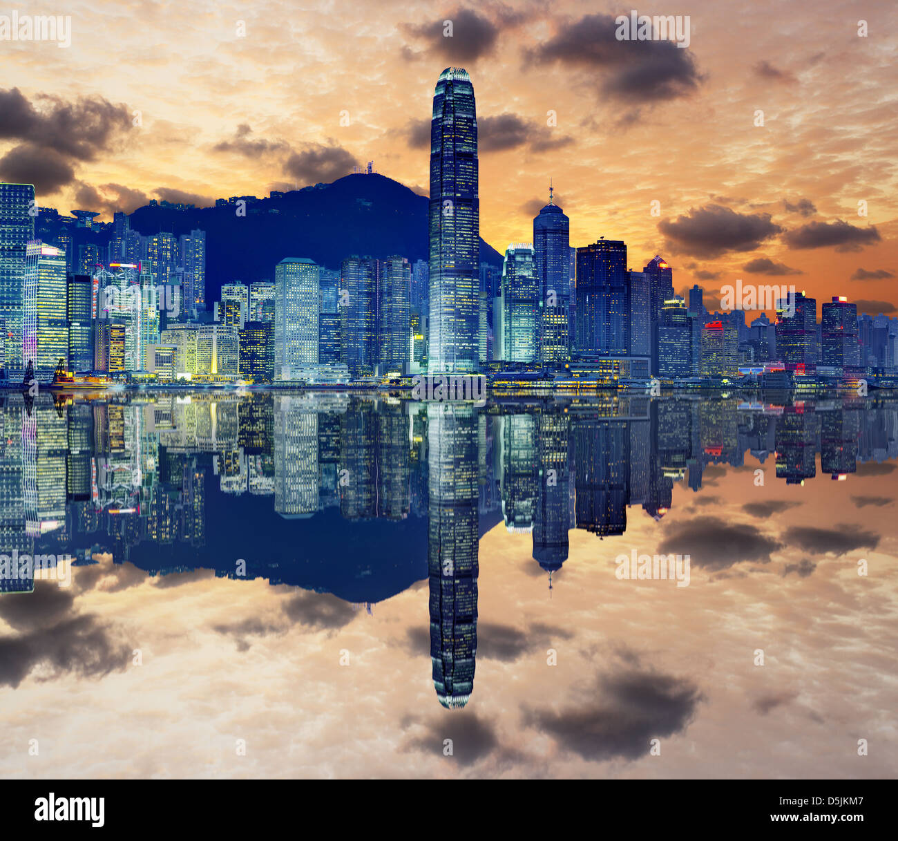 Skyline of Hong Kong Island. - Stock Image