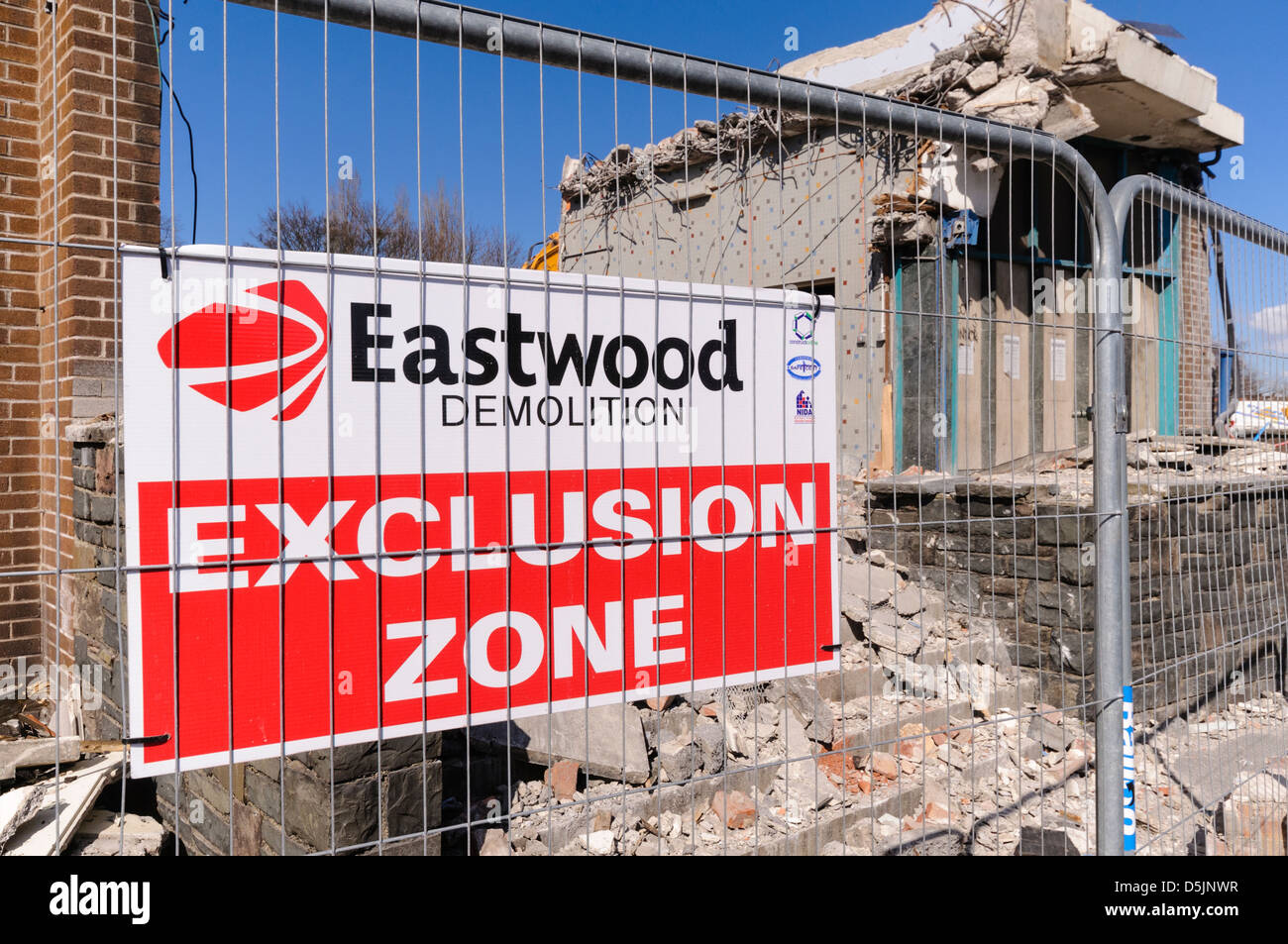 Sign at an Eastwood demolition site. - Stock Image