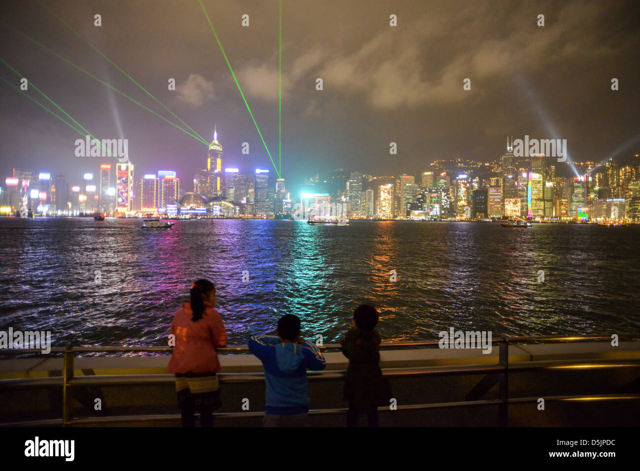 lights on the Skyline Hong Kong Island - Stock Image
