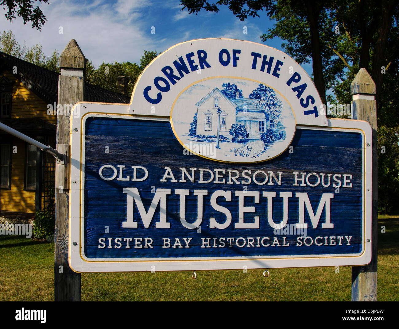 Sign for the Corner of the Past Museum and the Anderson House Museum in the Door County town of Sister Bay, Wisconsin - Stock Image