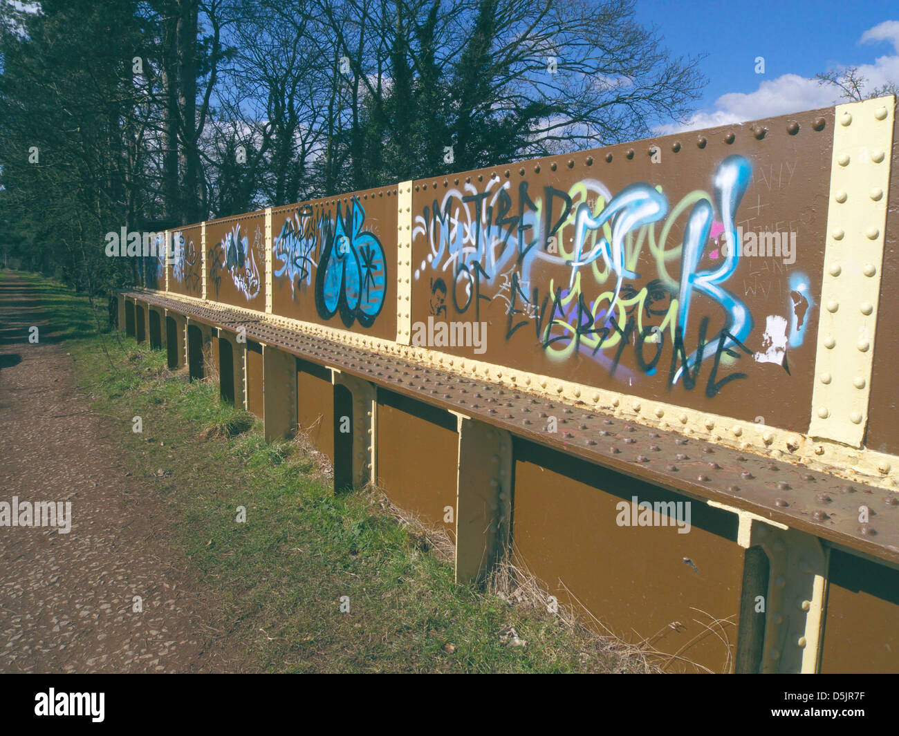 Graffiti On a Metal Bridge Along the South Staffordshire Railway Walk, Himley, Staffordshire, England, UK Stock Photo