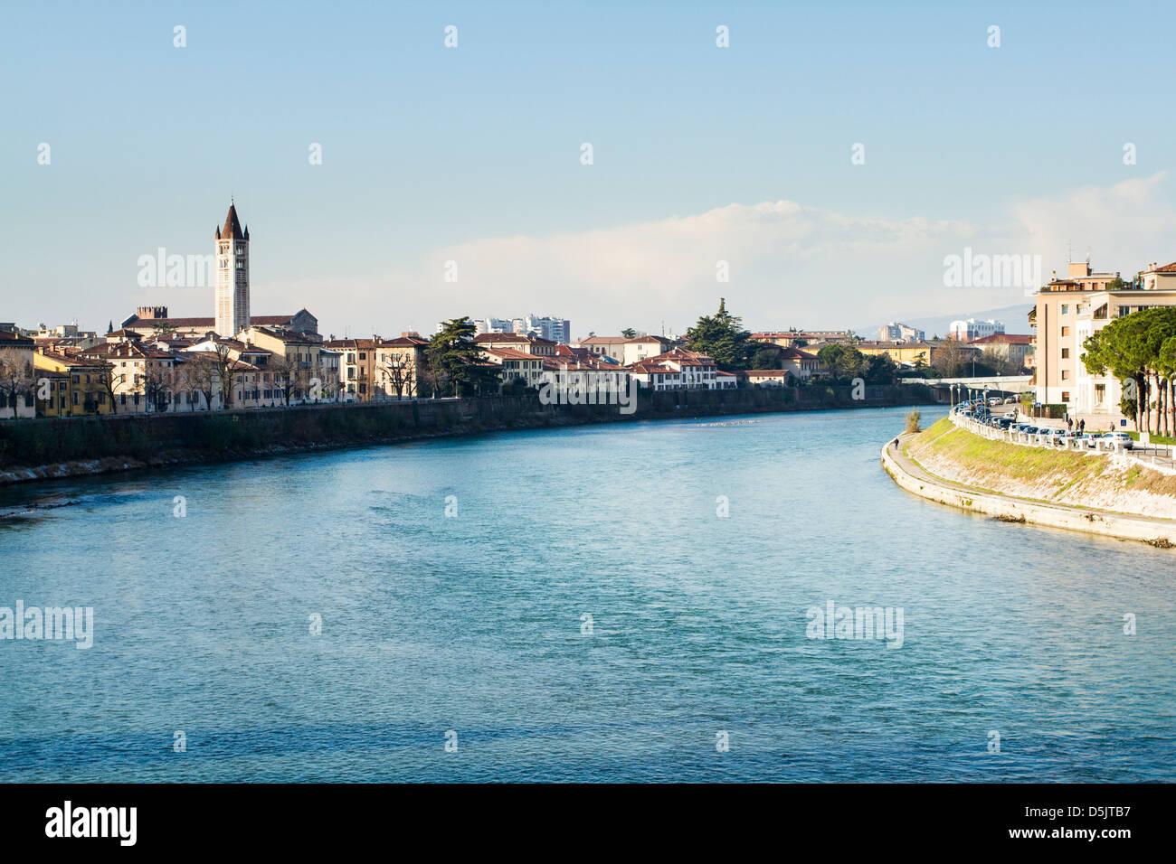 Adige River viewed from Castelvecchio Bridge (Ponte di Castelvecchio). - Stock Image