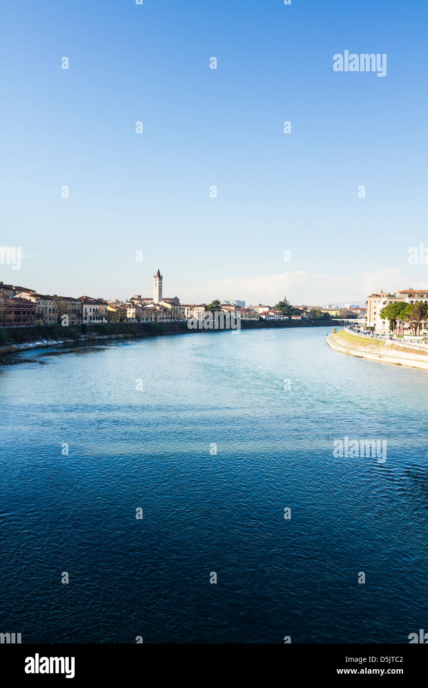 Adige River viewed from Castelvecchio Bridge (Ponte di Castelvecchio). Stock Photo