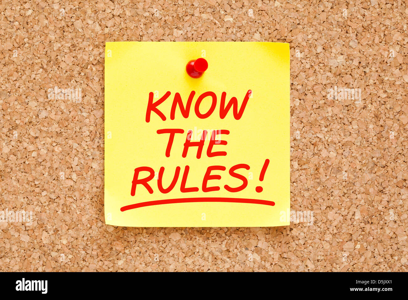 Know The Rules written on yellow sticky note with red marker. - Stock Image