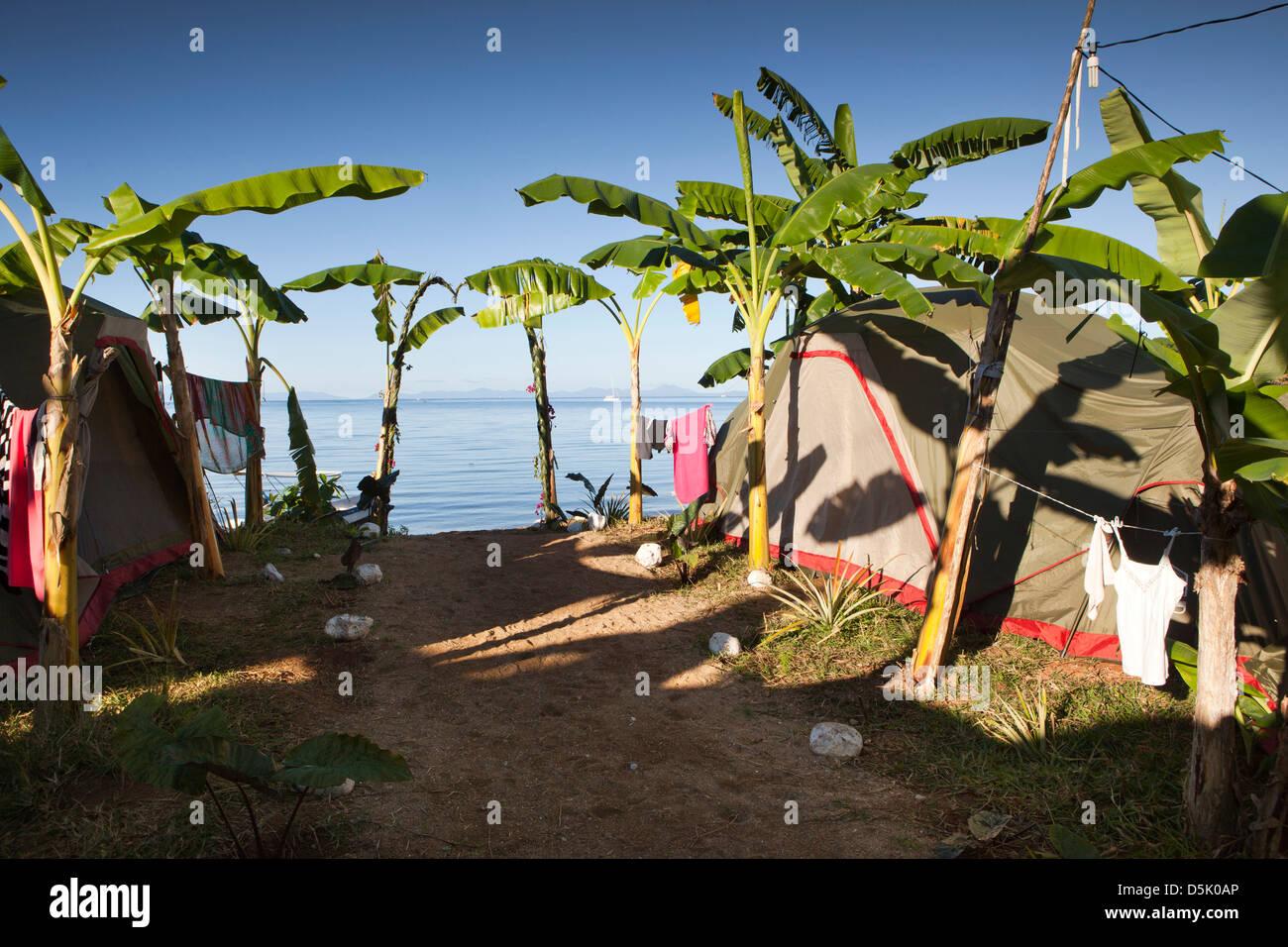 Madagascar, Nosy Be, Marodokana, Operation Wallacea diving camp tents - Stock Image