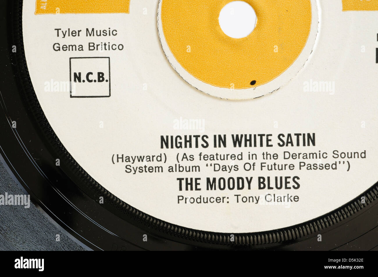 The Moody Blues Nights in White Satin 7' single record label - Stock Image
