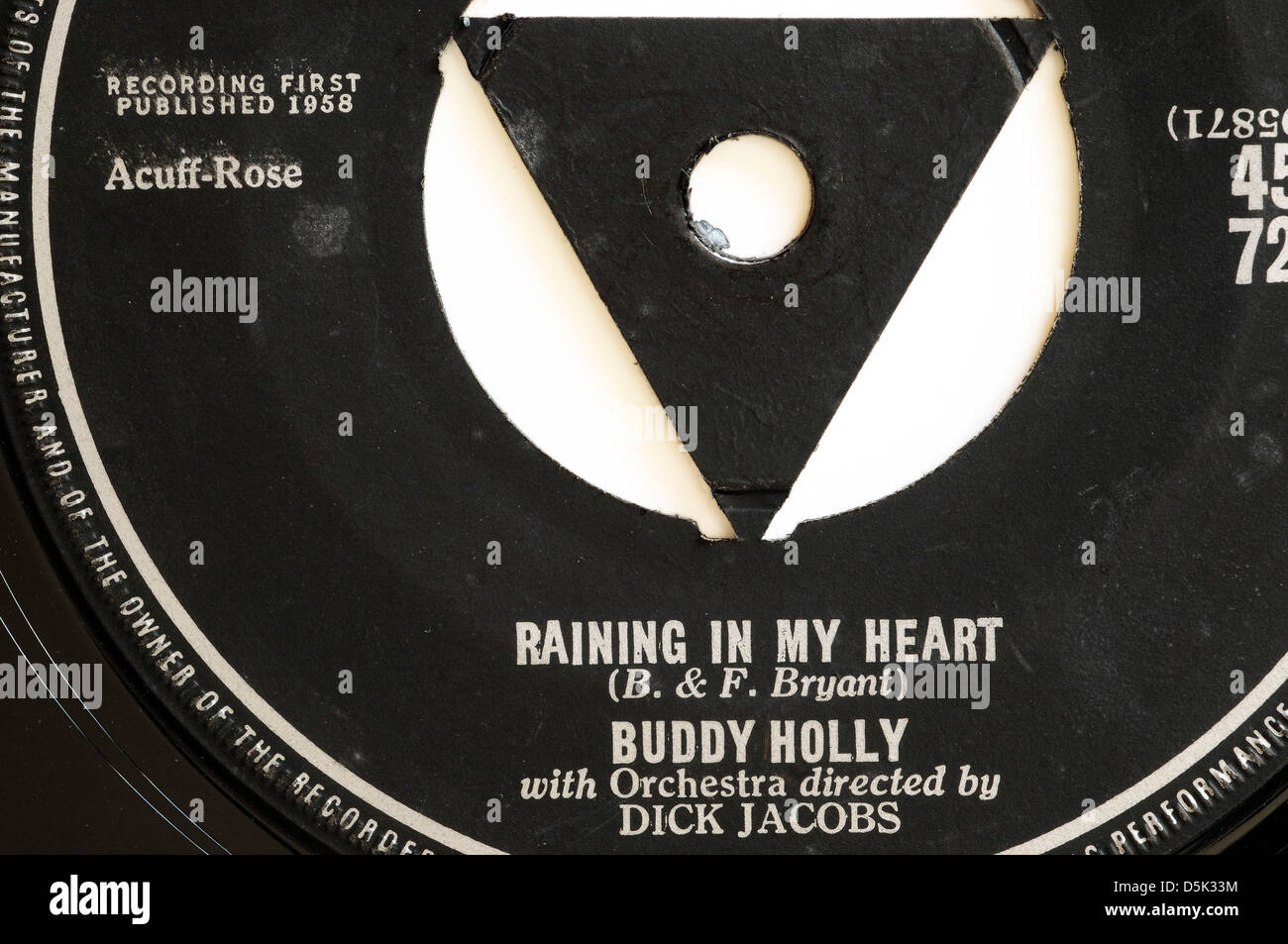 Buddy Holly Raining in my Heart 7' single record label - Stock Image