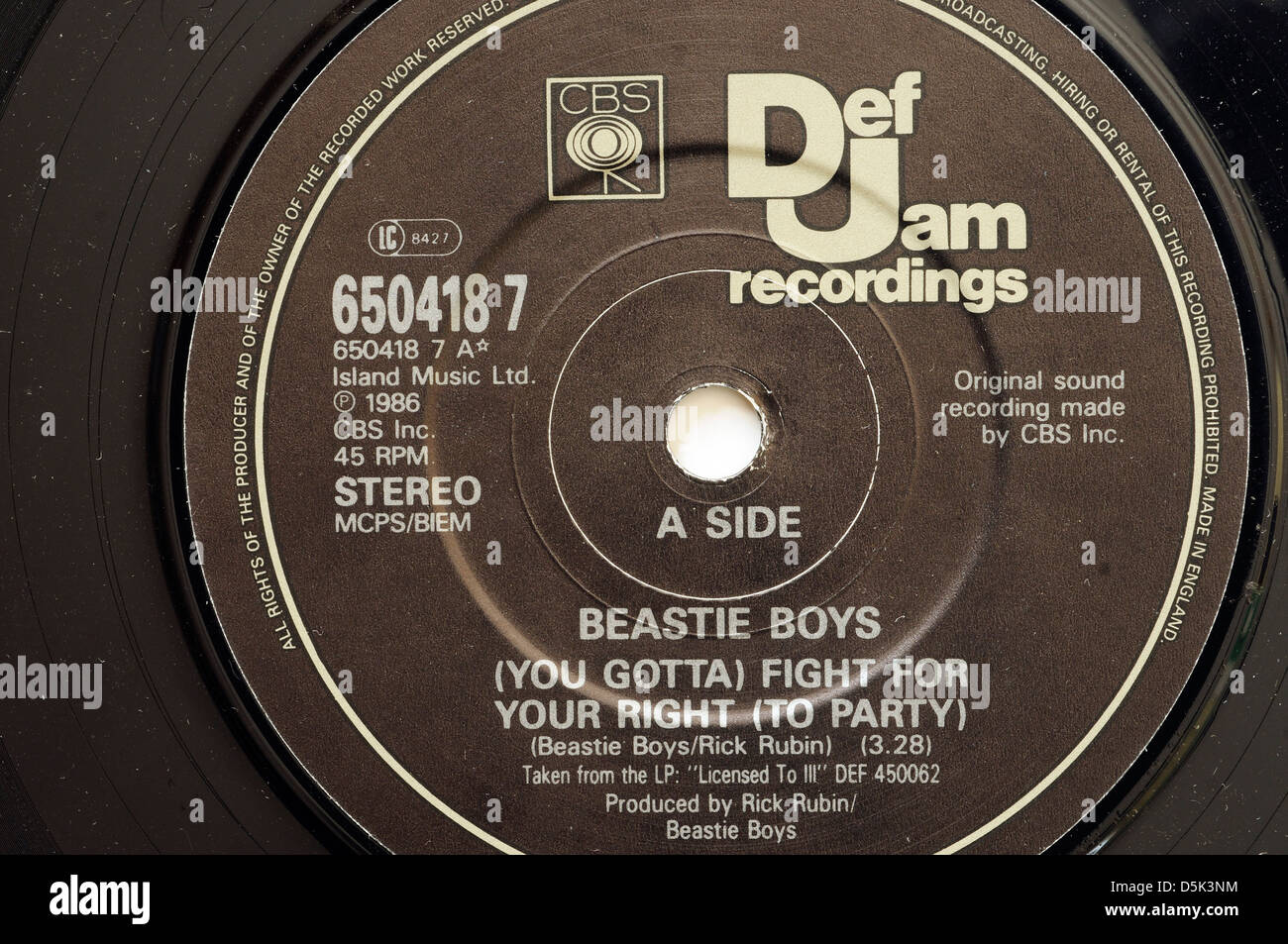 Beastie Boys You Gotta Fight for Your Right To Party 7' single label - Stock Image