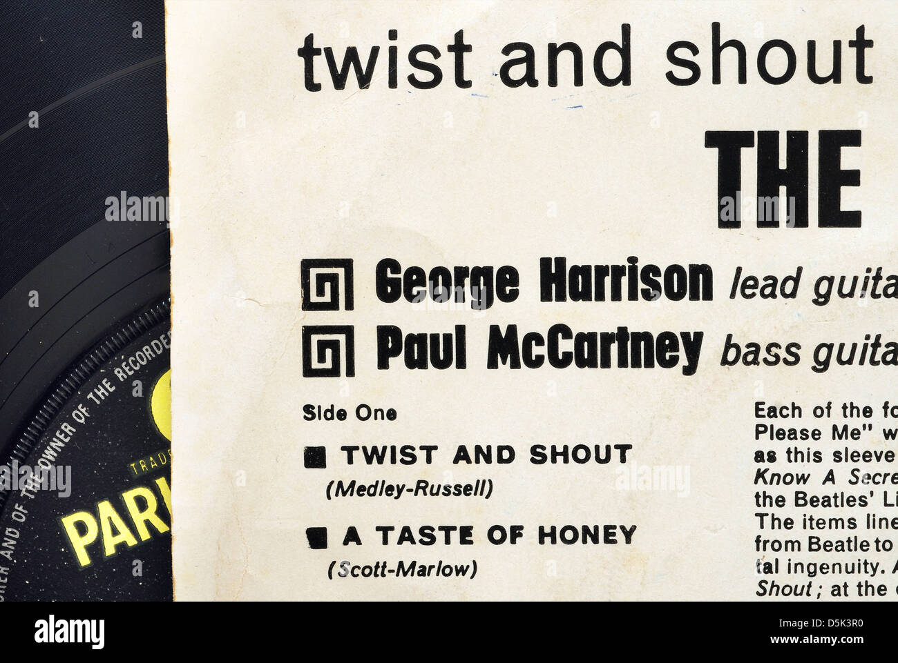 Detail from the sleeve of the Beatles Twist and Shout EP - Stock Image