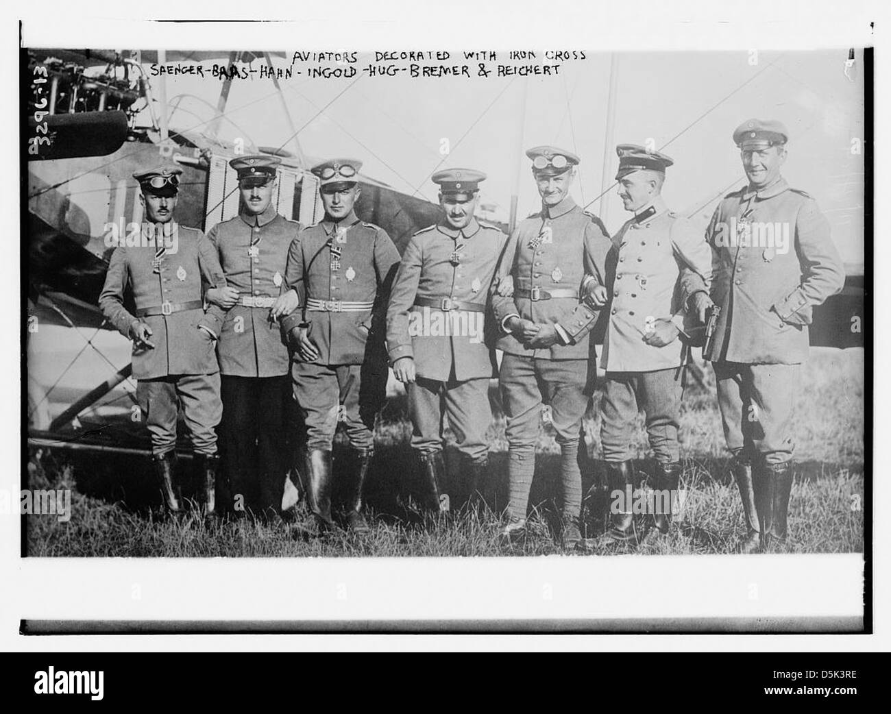 Aviators decorated with iron cross: Saenger -- Baas -- Hahn -- Ingold -- Hug -- Bremer -- Reichert (LOC) Stock Photo