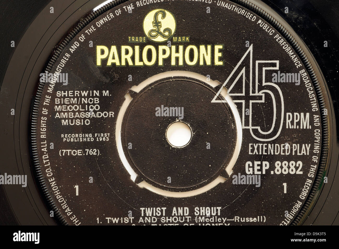 Beatles Twist and Shout EP record label Stock Photo