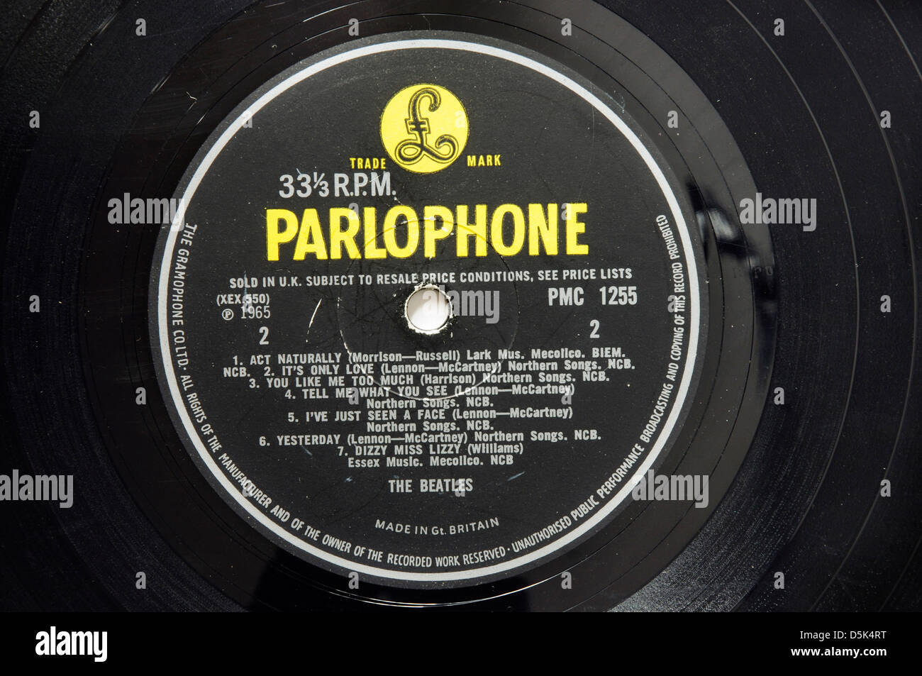 The Beatles Help record label - Stock Image