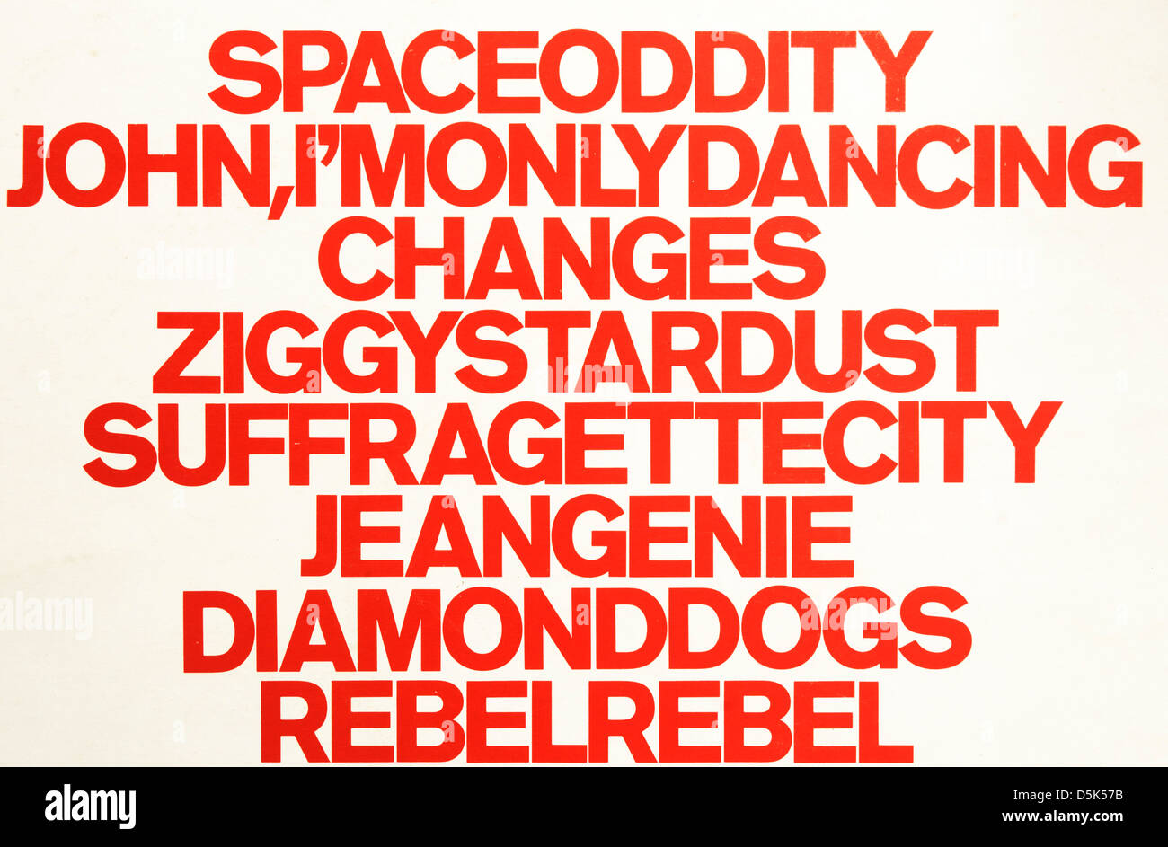 David Bowie song titles from the album ChangesOne - Stock Image