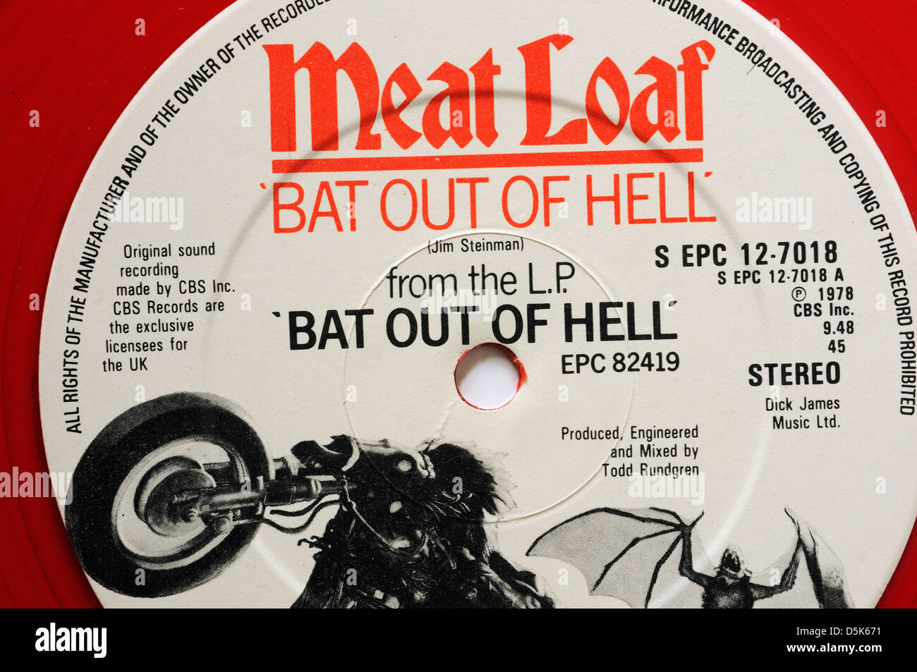 Meat Loaf Bat Out of Hell 12' single - Stock Image