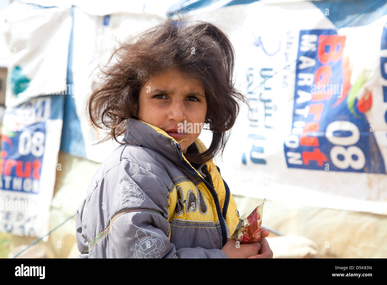 Young Syrian refugee girl, West Bekaa Valley Lebanon - Stock Image