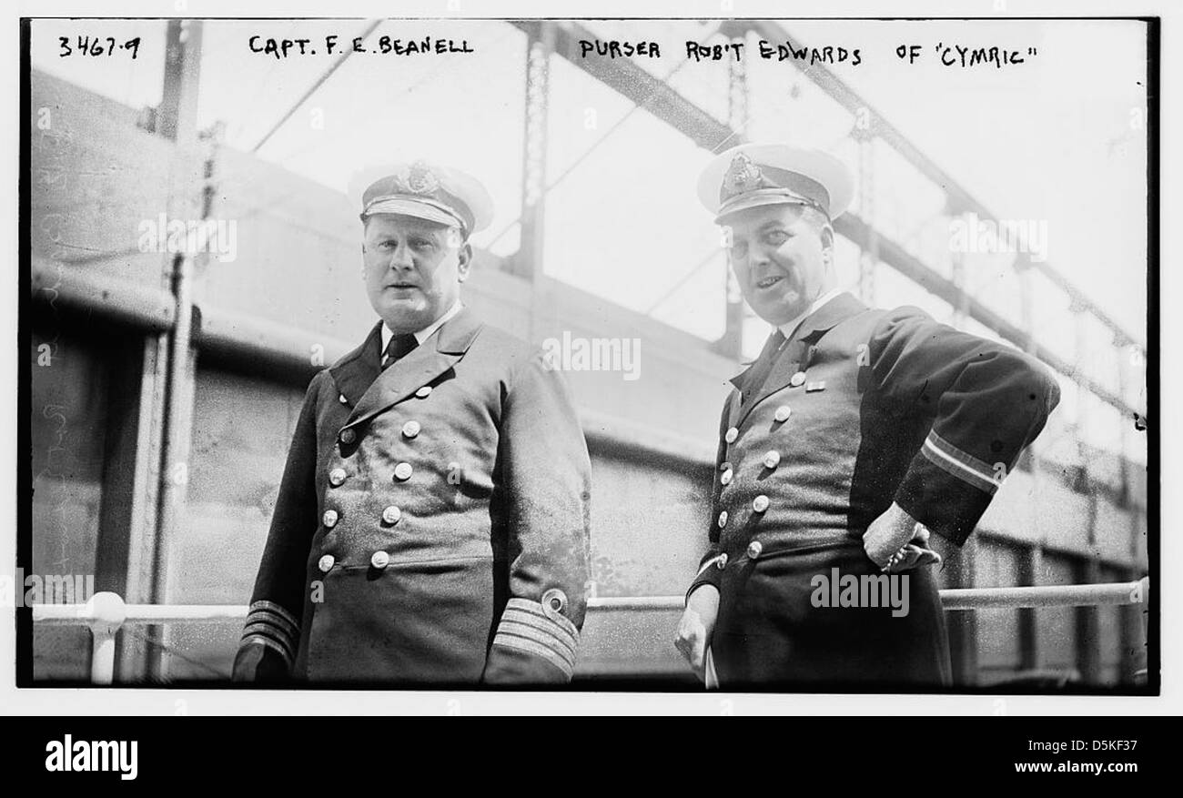Capt. F.E. Beanell [i.e., Beadnell], Purser Robt' Edwards of CYMRIC (LOC) - Stock Image