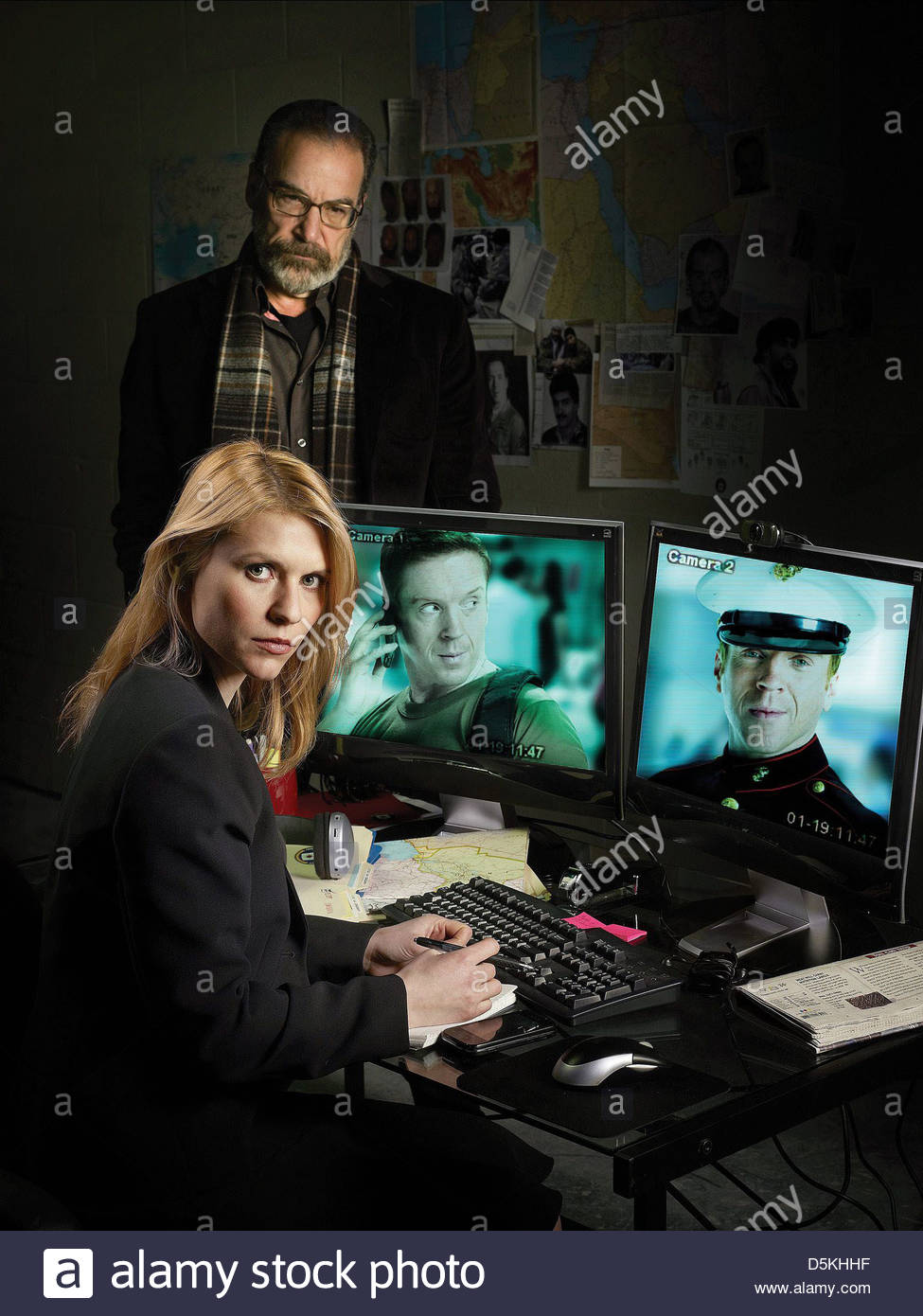 MANDY PATINKIN CLAIRE DANES & DAMIAN LEWIS HOMELAND (2011) - Stock Image