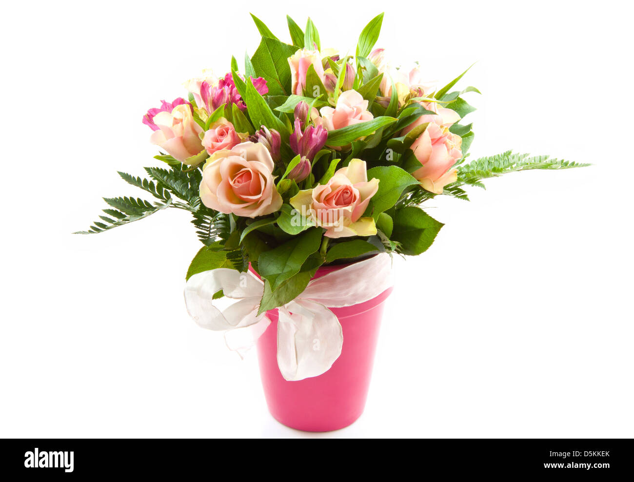Bunch Of Beautiful Flowers In A Jar Isolated Over White Stock Photo