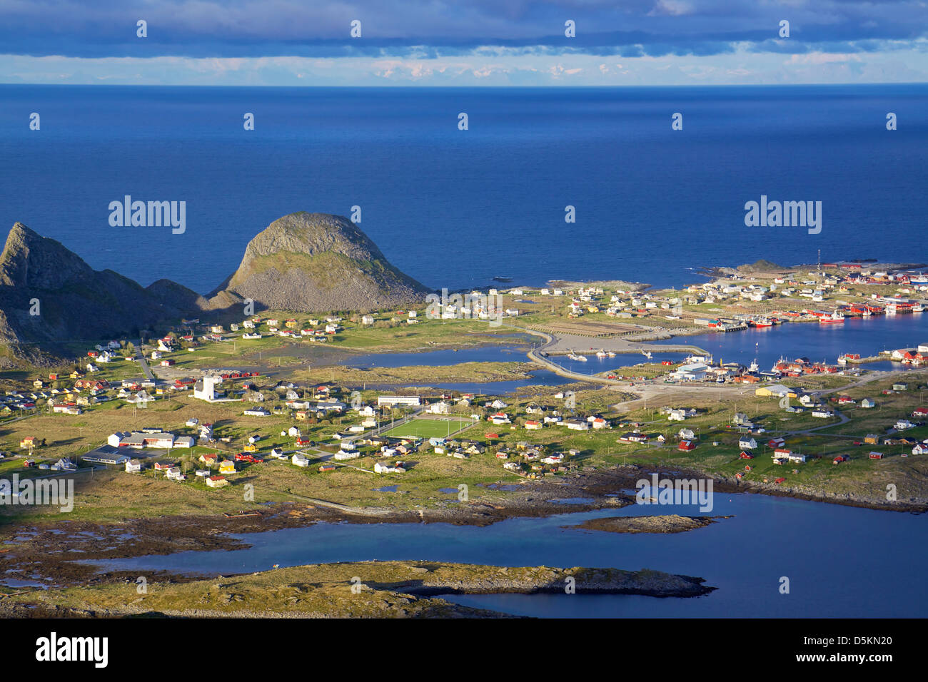 Aerial view of picturesque traditional norwegian fishing town of Sorland on island of Vaeroy, Lofoten, Norway - Stock Image