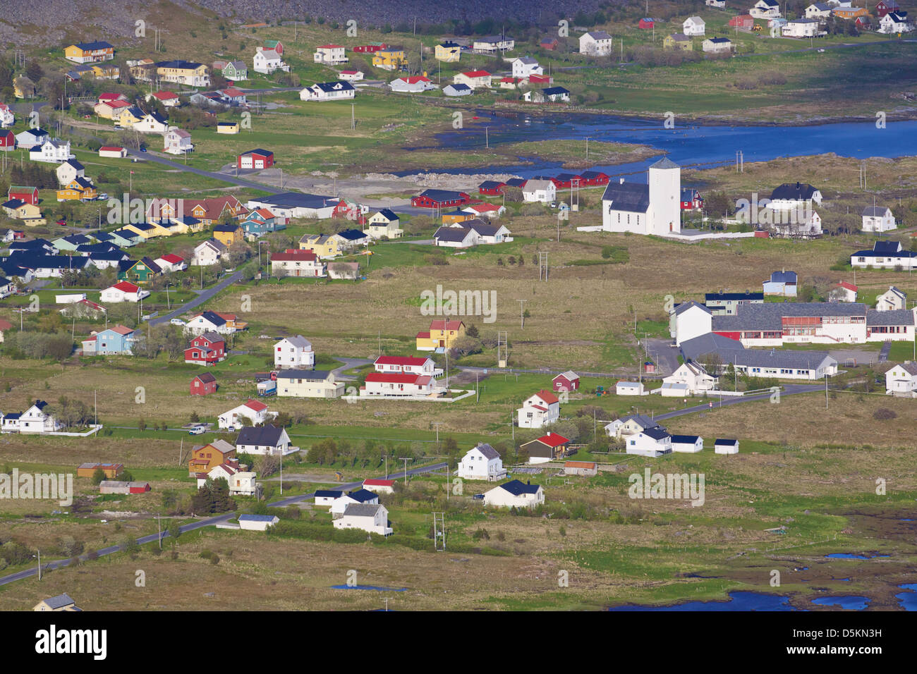 Typical norwegian town Sorland with colorful houses on island of Vaeroy, Lofoten islands, Norway - Stock Image