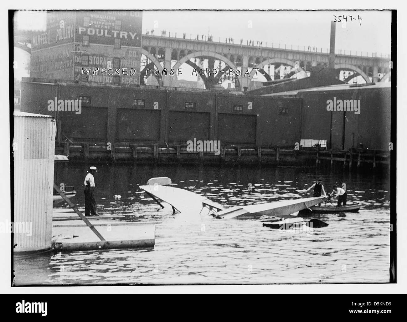 Wrecked Morse aero-boat (LOC) - Stock Image