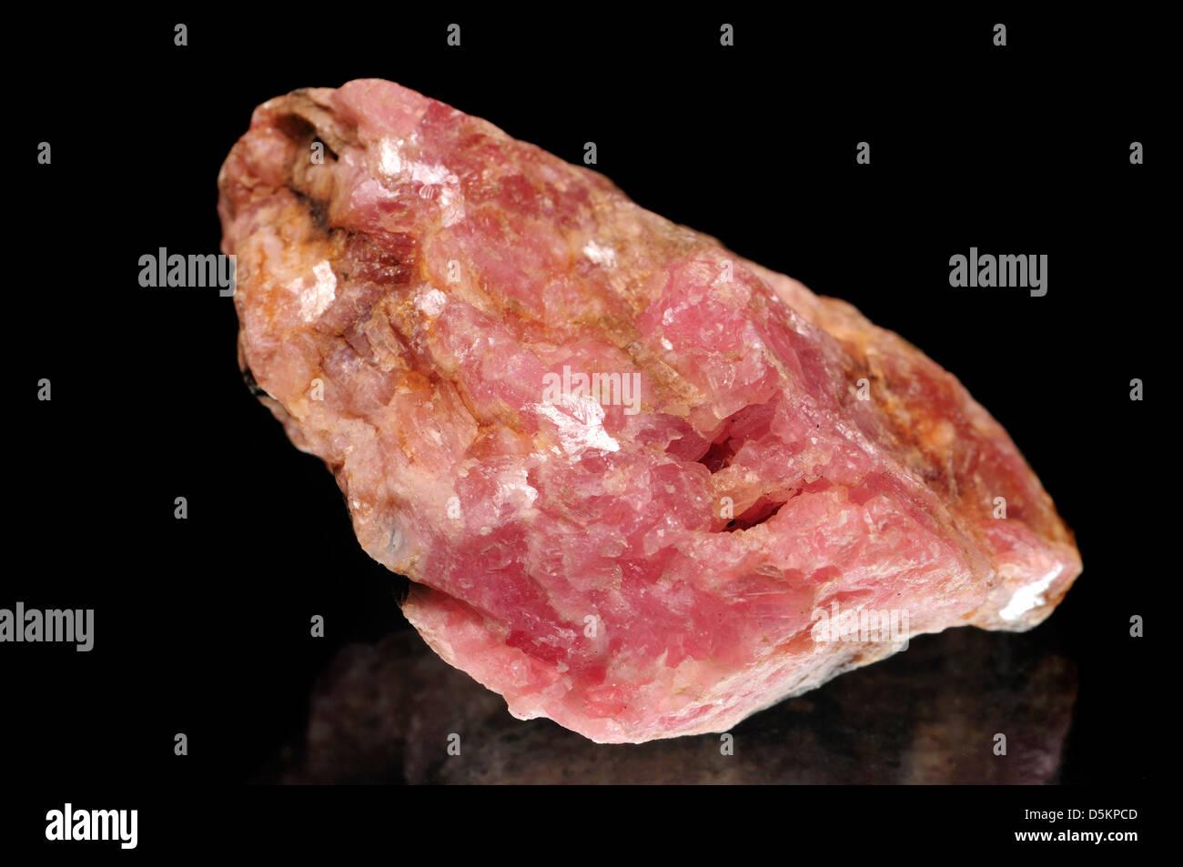 Rhodochrosite (pink Manganese carbonate) - Stock Image