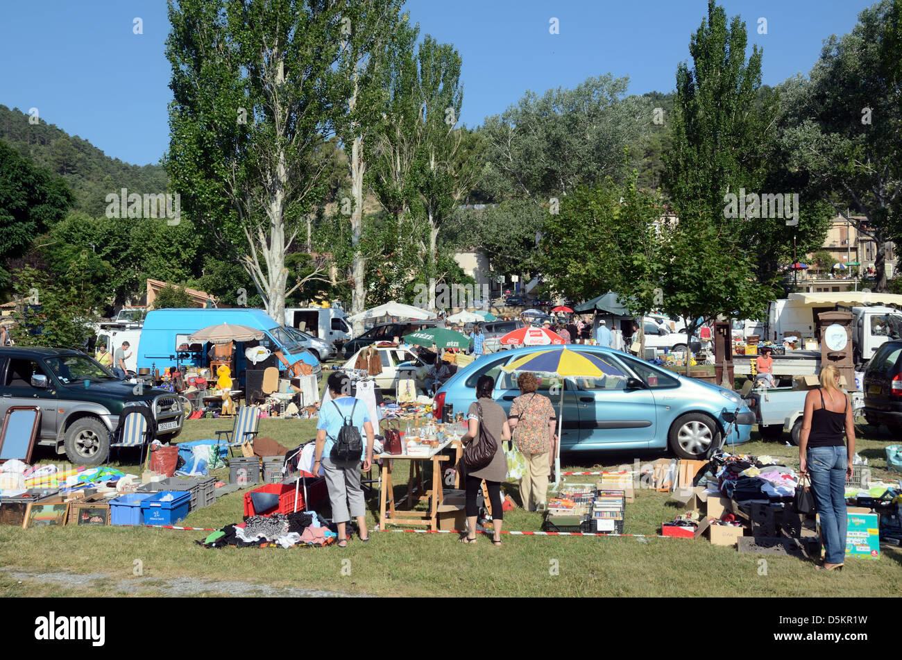 Vide Grenier Brocante or Jumble Sale Mezel France - Stock Image