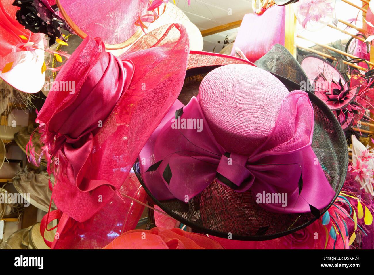 HAT; HATS; SHOP; CHOICE; DETAILS; MILLINERY; WEDDING; SMART; FORMAL; WEAR - Stock Image