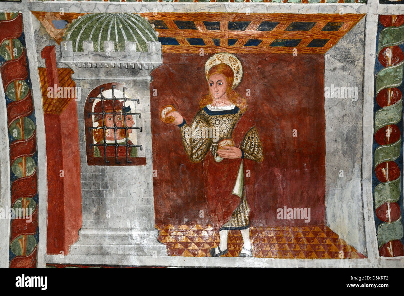 Fresco Saint Sebastian Bringing Bread to Imprisoned Christians (1513) Chapel of Saint Sebastian Roubion Alpes-Maritimes - Stock Image