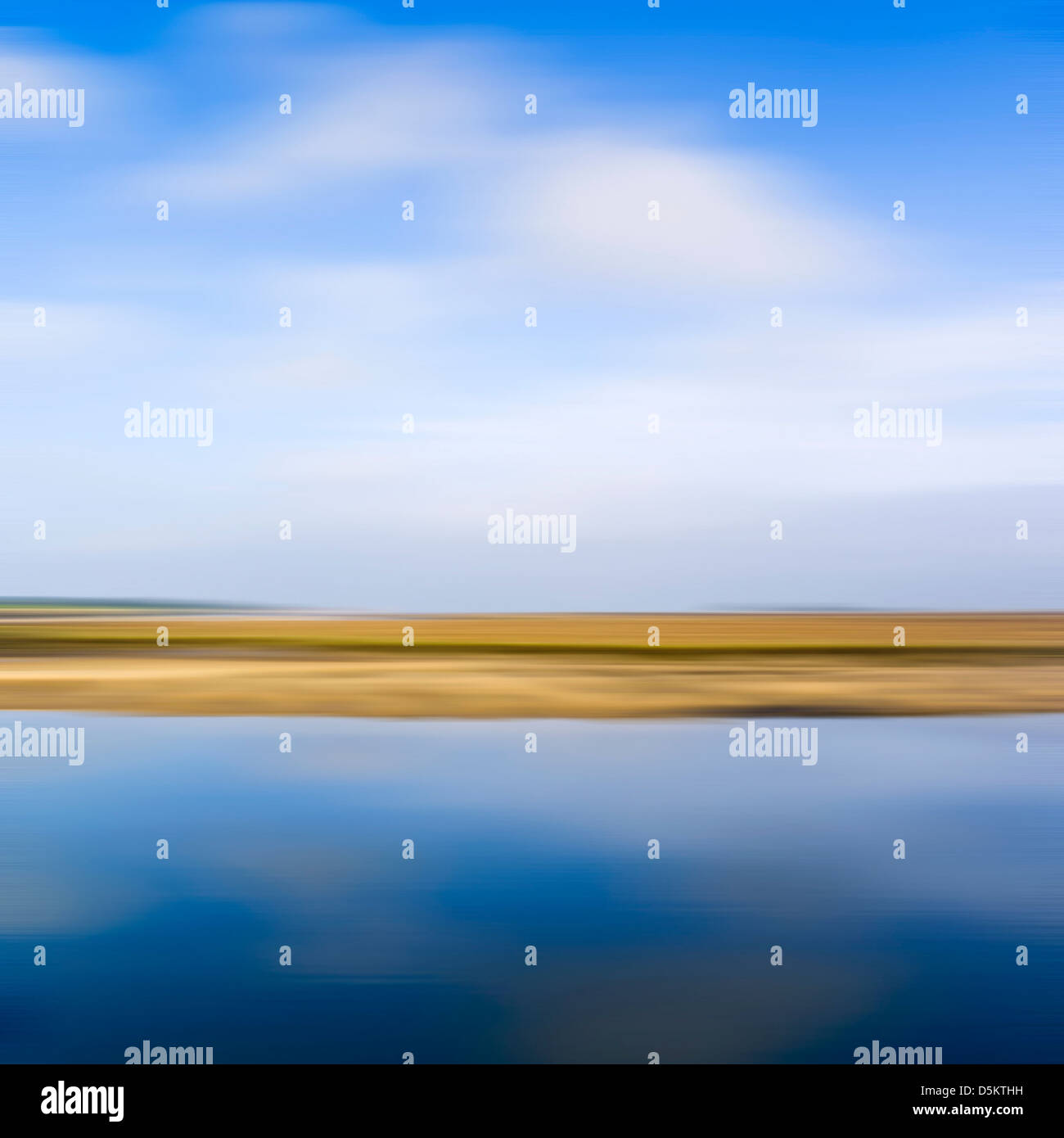 Blurred abstract image of saltmarshes on the North Norfolk coast. Stock Photo