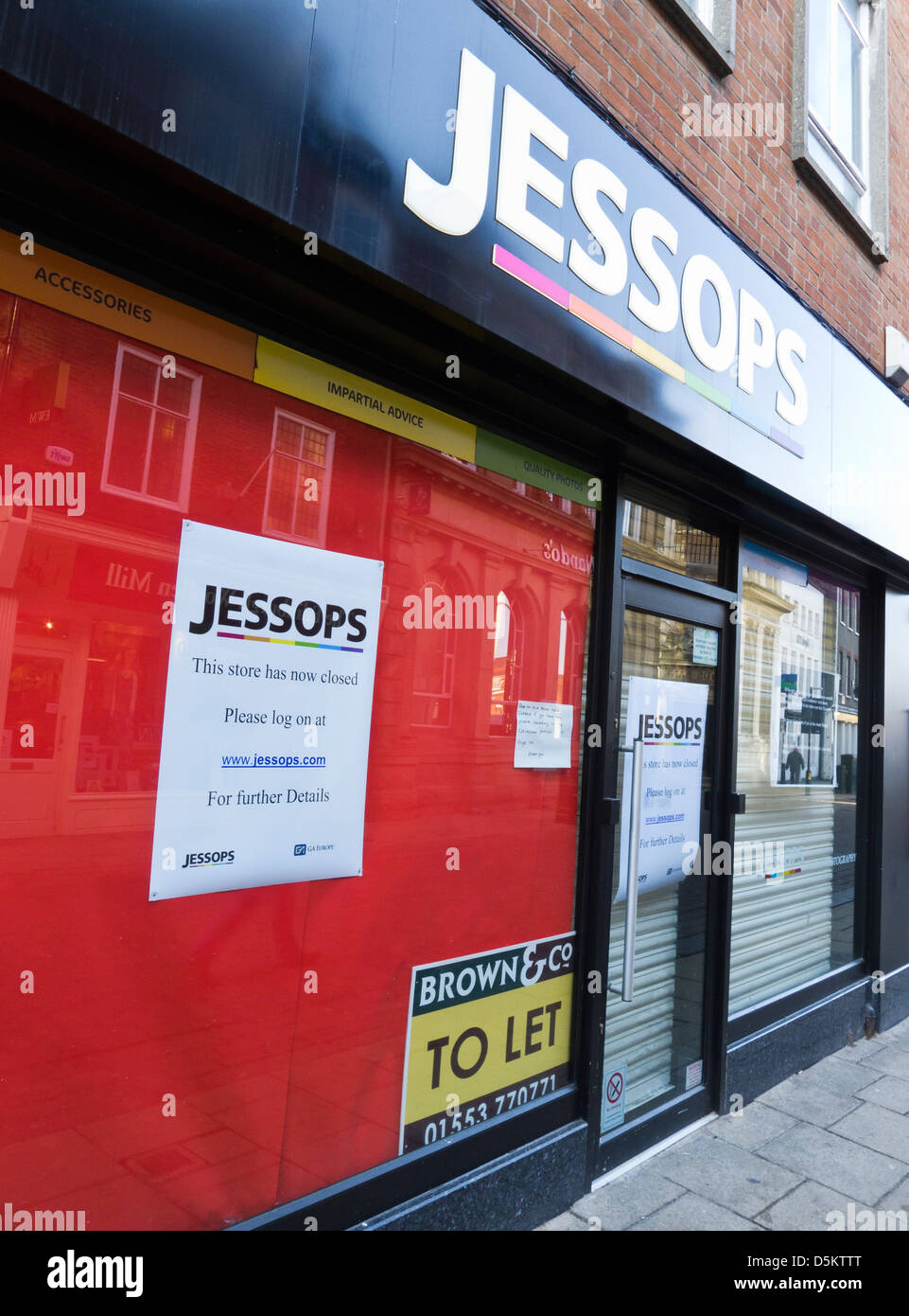 Closed Jessops shop in the high street in King's Lynn, Norfolk. - Stock Image