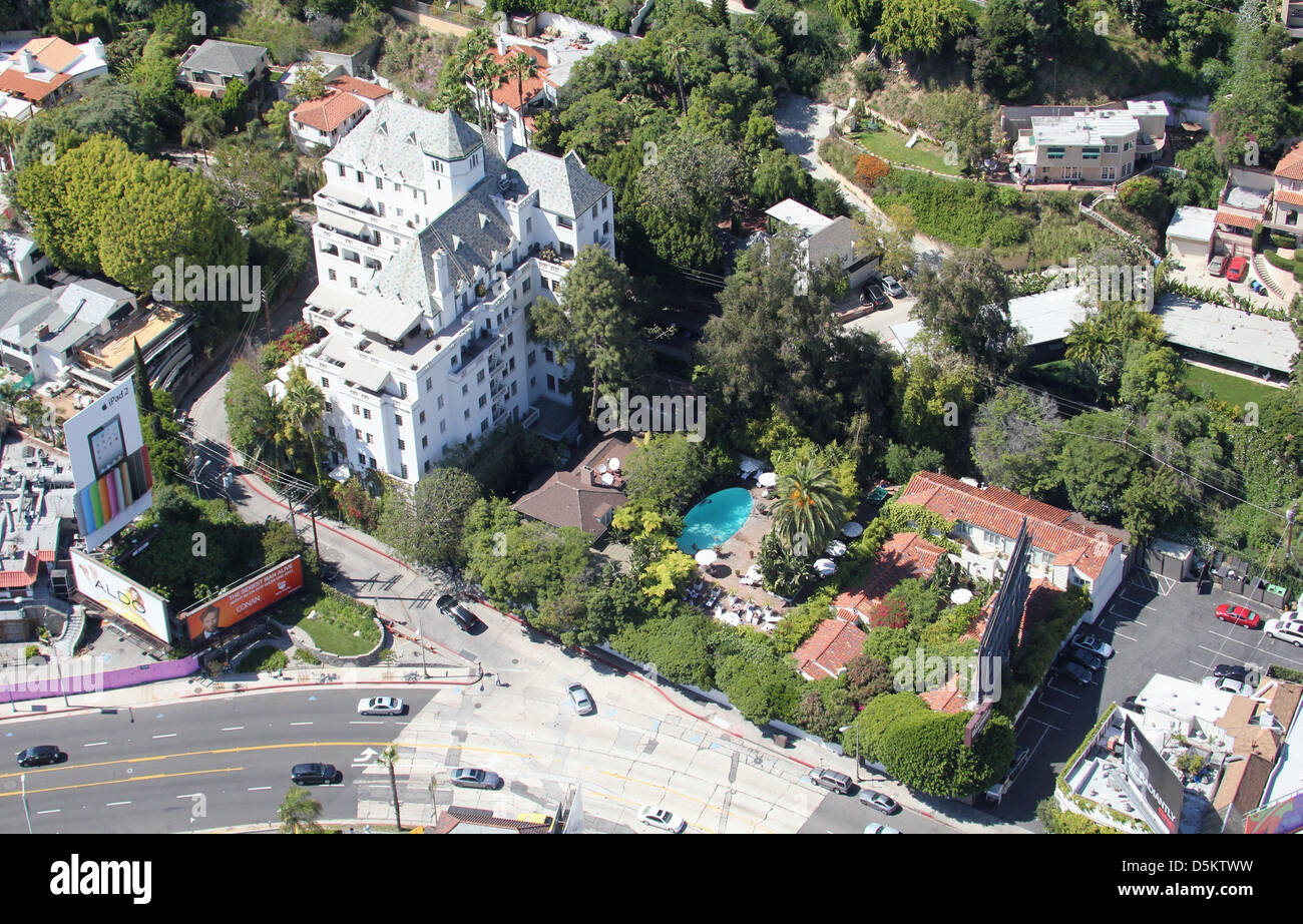 aerial view of chateau marmont hotel on sunset boulevard. Black Bedroom Furniture Sets. Home Design Ideas