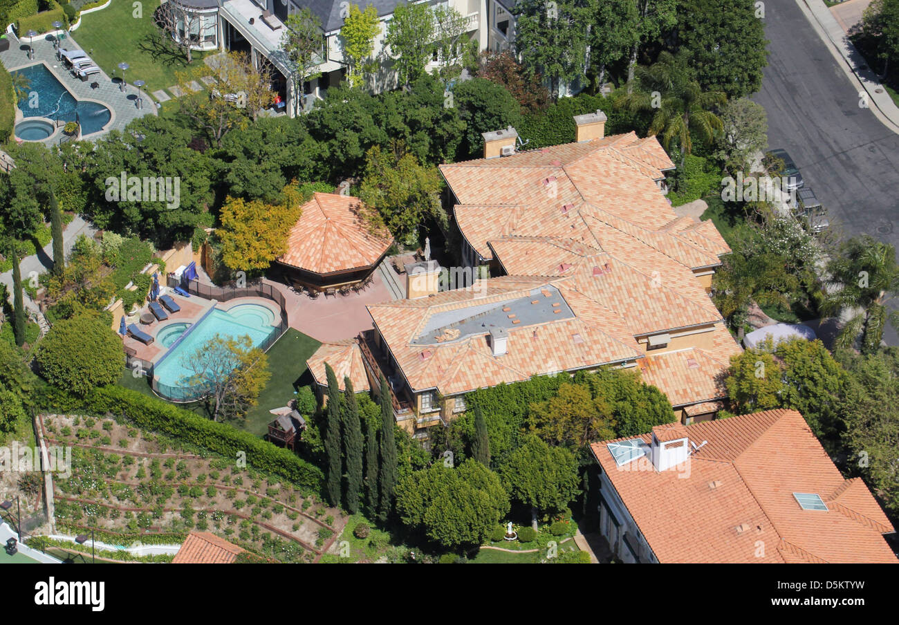Aerial view of Charlie Sheen \'s home in Los Angeles. Los Angeles ...