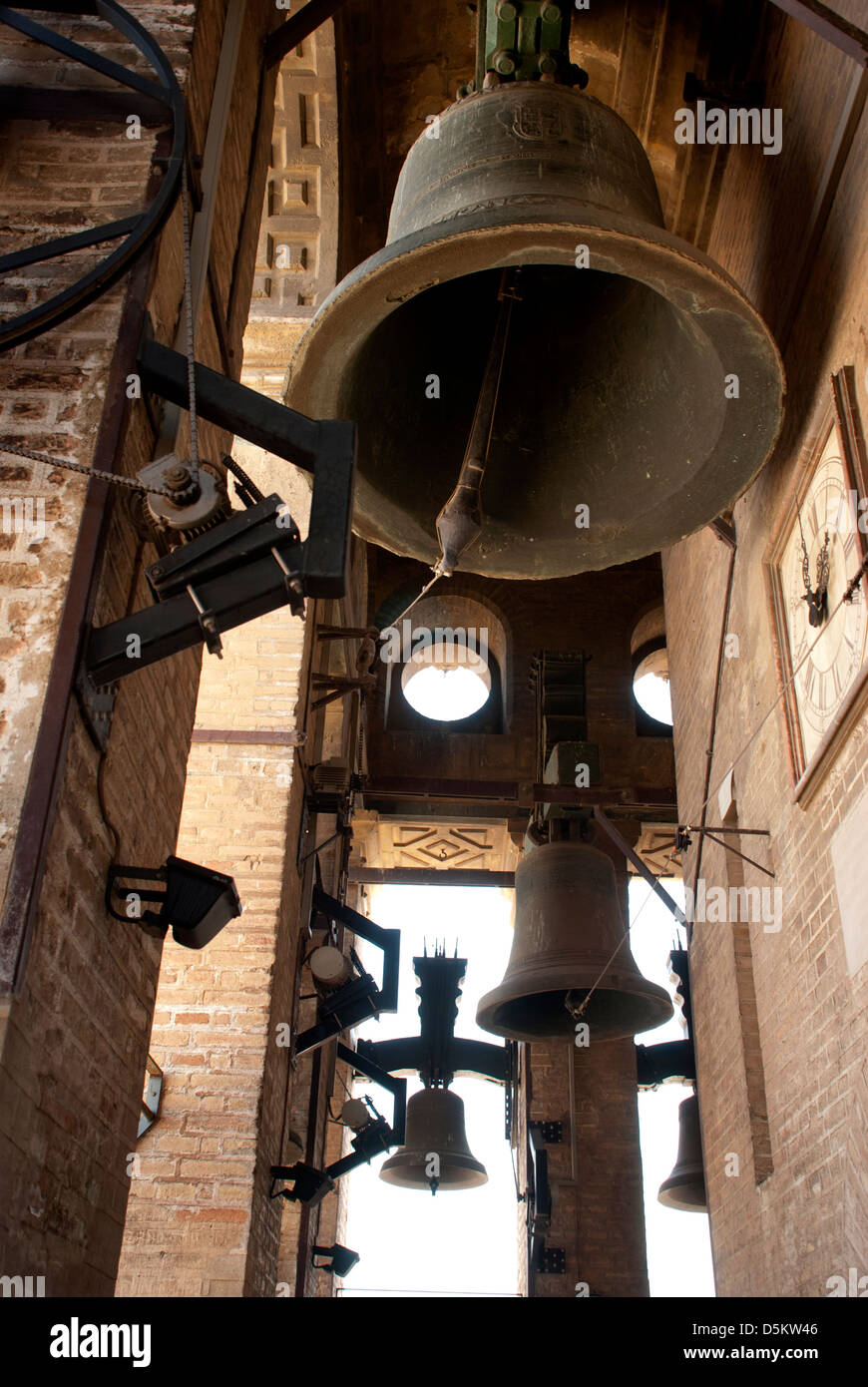 Bells of bell tower of Cathedral of Seville La Giralda, Southern Spain. Andalusia. - Stock Image