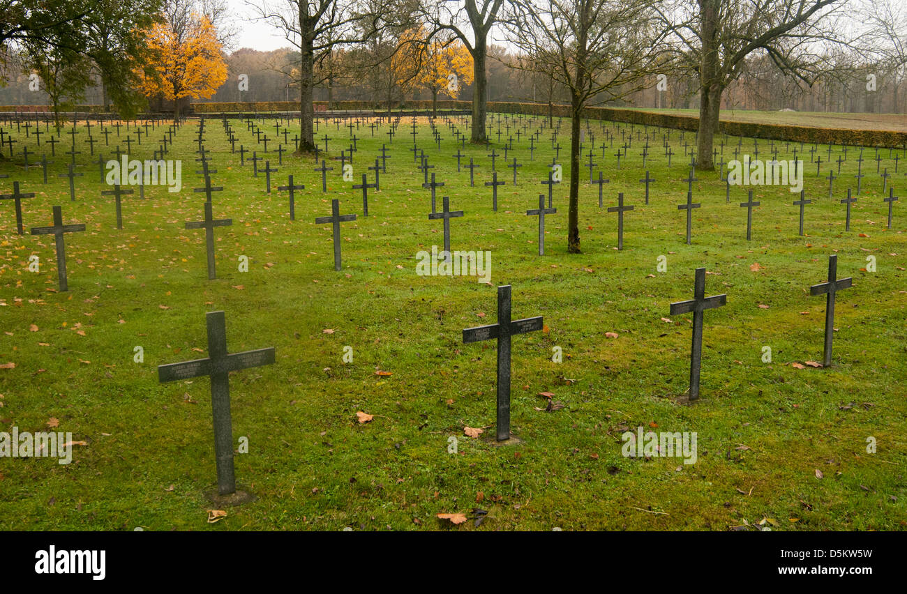 Grave Markers in The German World War One Cemetery, at Fricourt on The Somme Battlefield, France - Stock Image