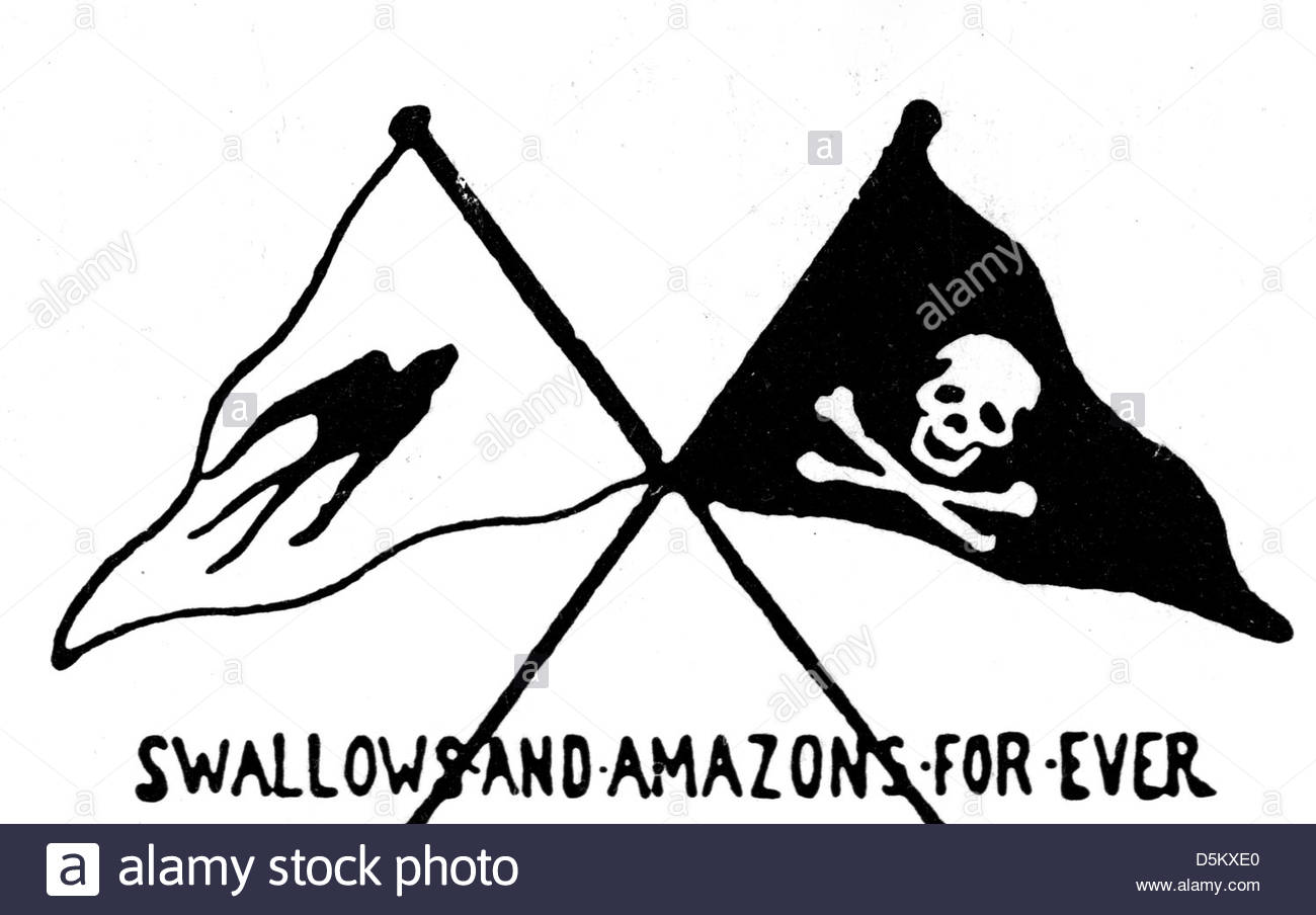 ARTHUR RANSOME (1884-1967) Author's drawings for later editions of his book Swallows and Amazons first published - Stock Image