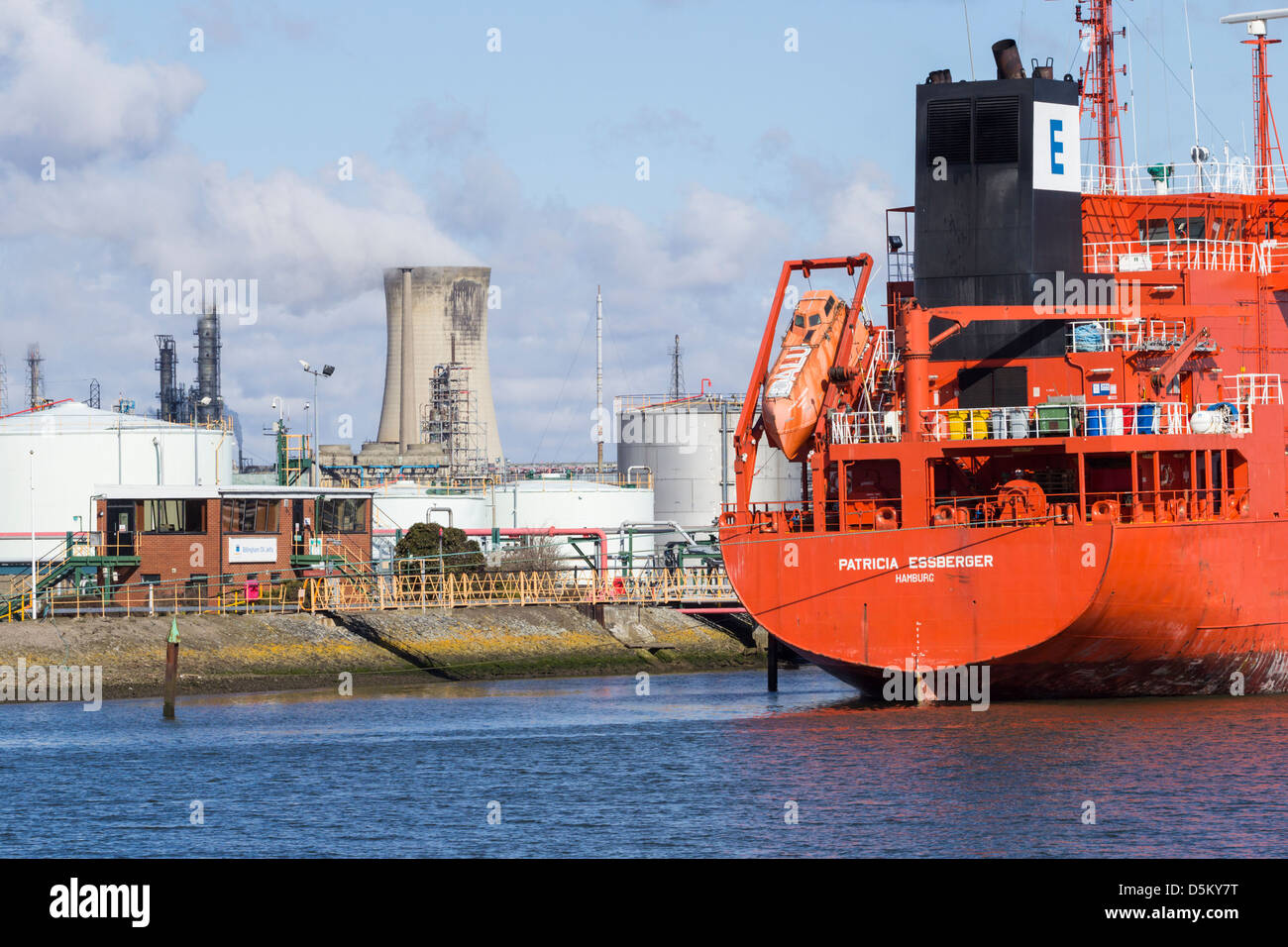 Oil tanker at Billingham oil jetty on the river Tees at Middlesbrough, north east England, UK - Stock Image