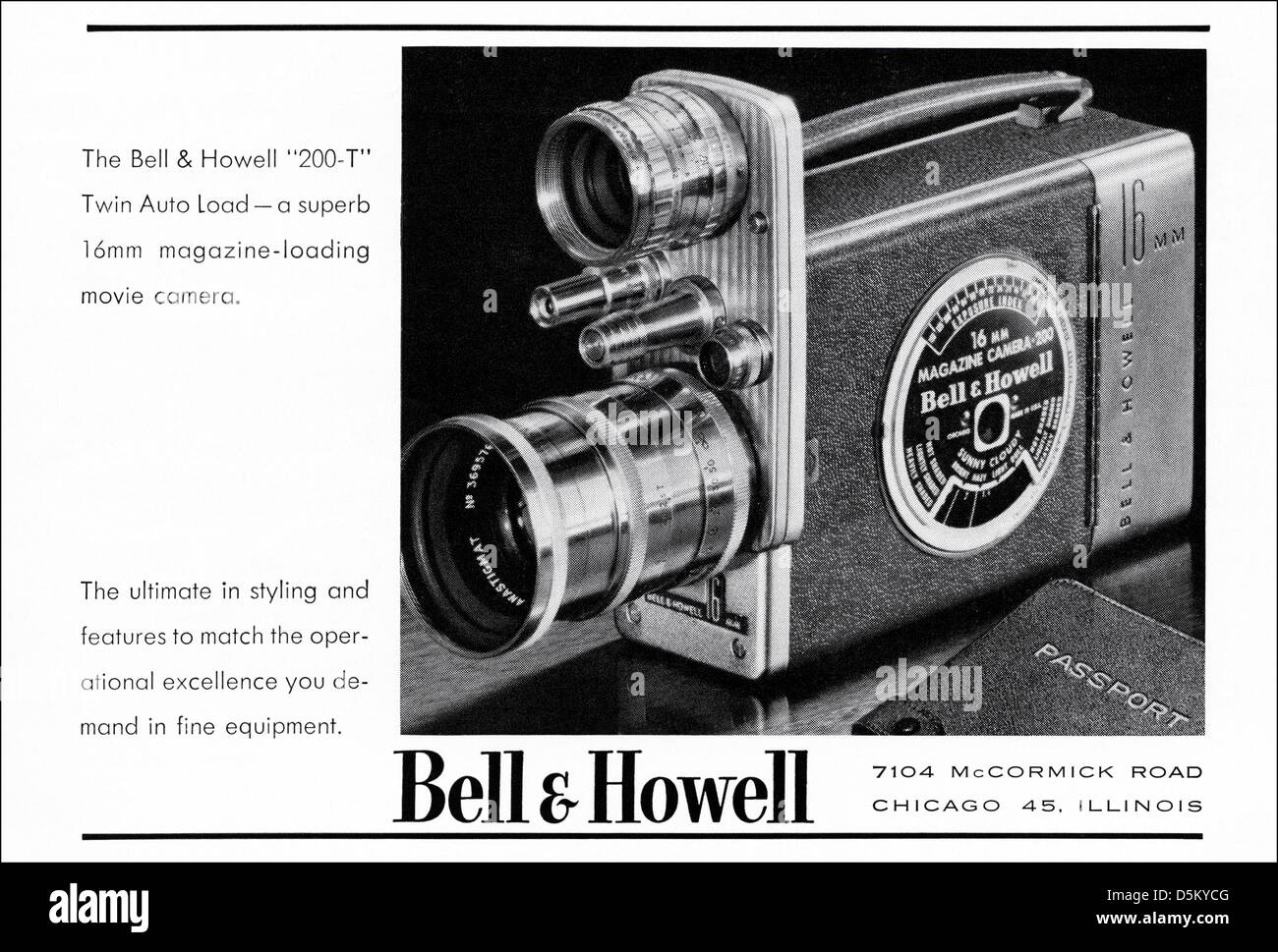 advertisement 1950s Bell & Howell movie camera advert in