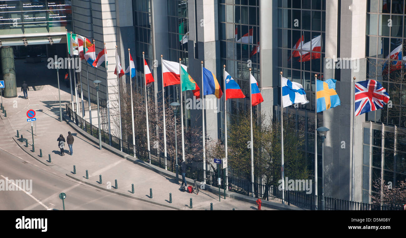 Flags at European Parliament headquarters in Brussels - Stock Image