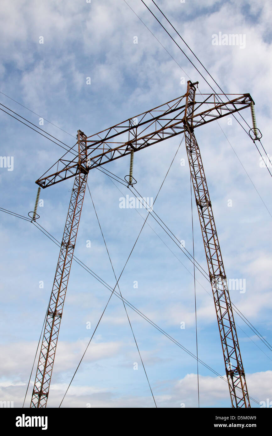 Steel lattice high voltage transmission tower - Stock Image